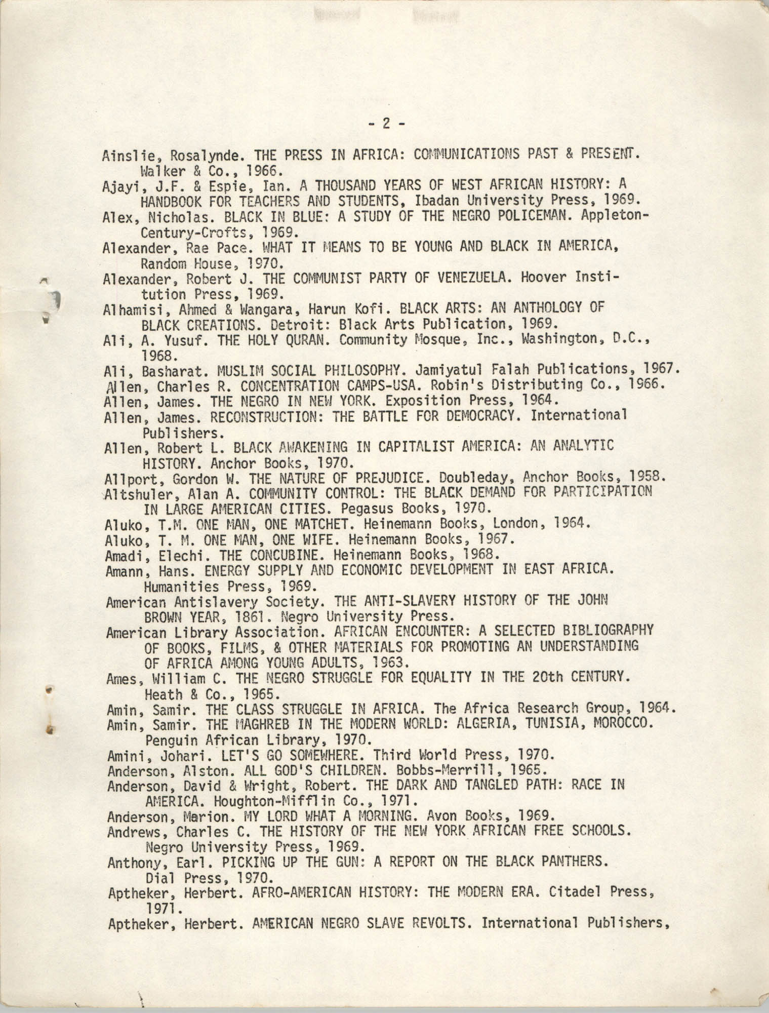 Howard University Department of Afro-American Studies Reading Materials, Page 2