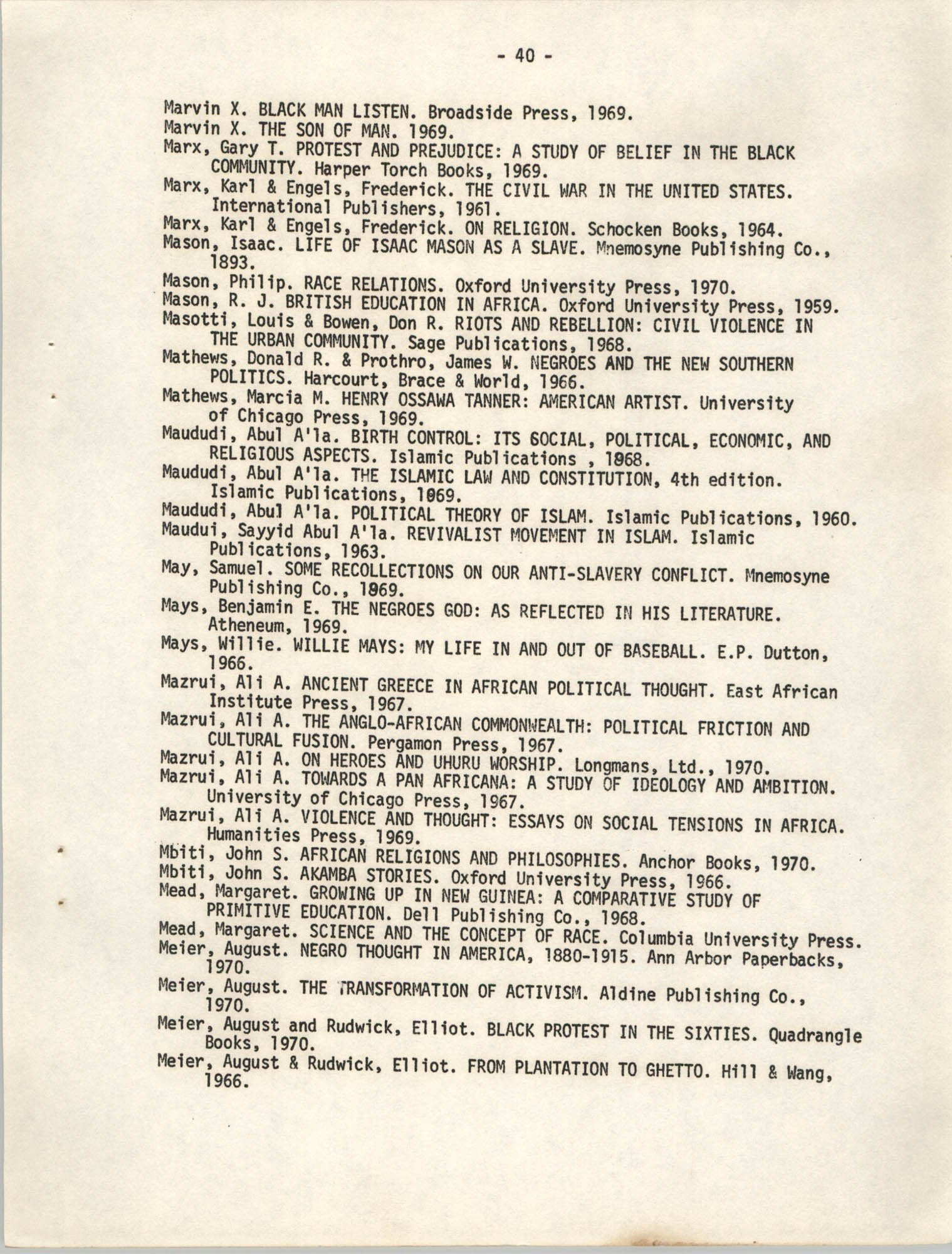 Howard University Department of Afro-American Studies Reading Materials, Page 40
