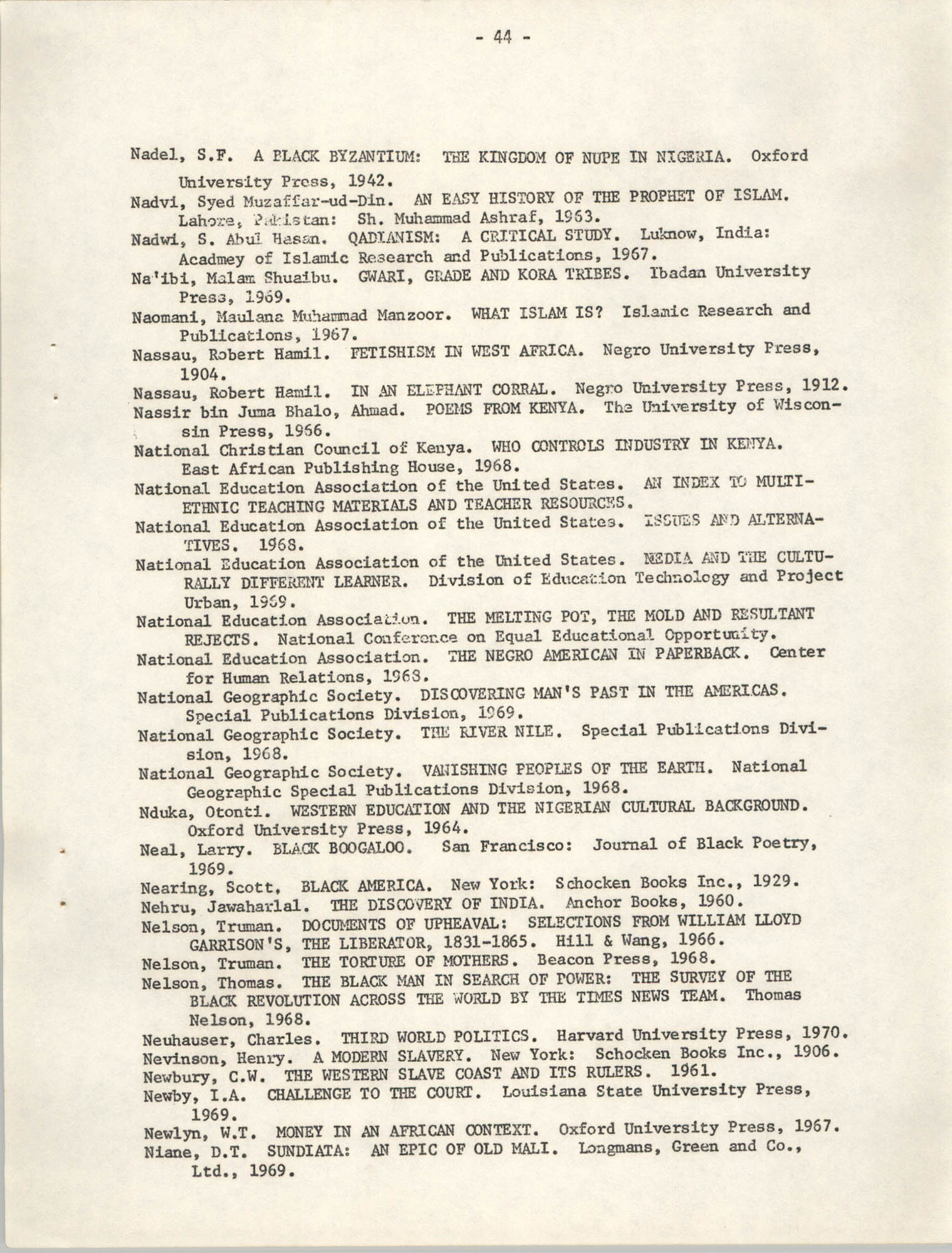Howard University Department of Afro-American Studies Reading Materials, Page 44