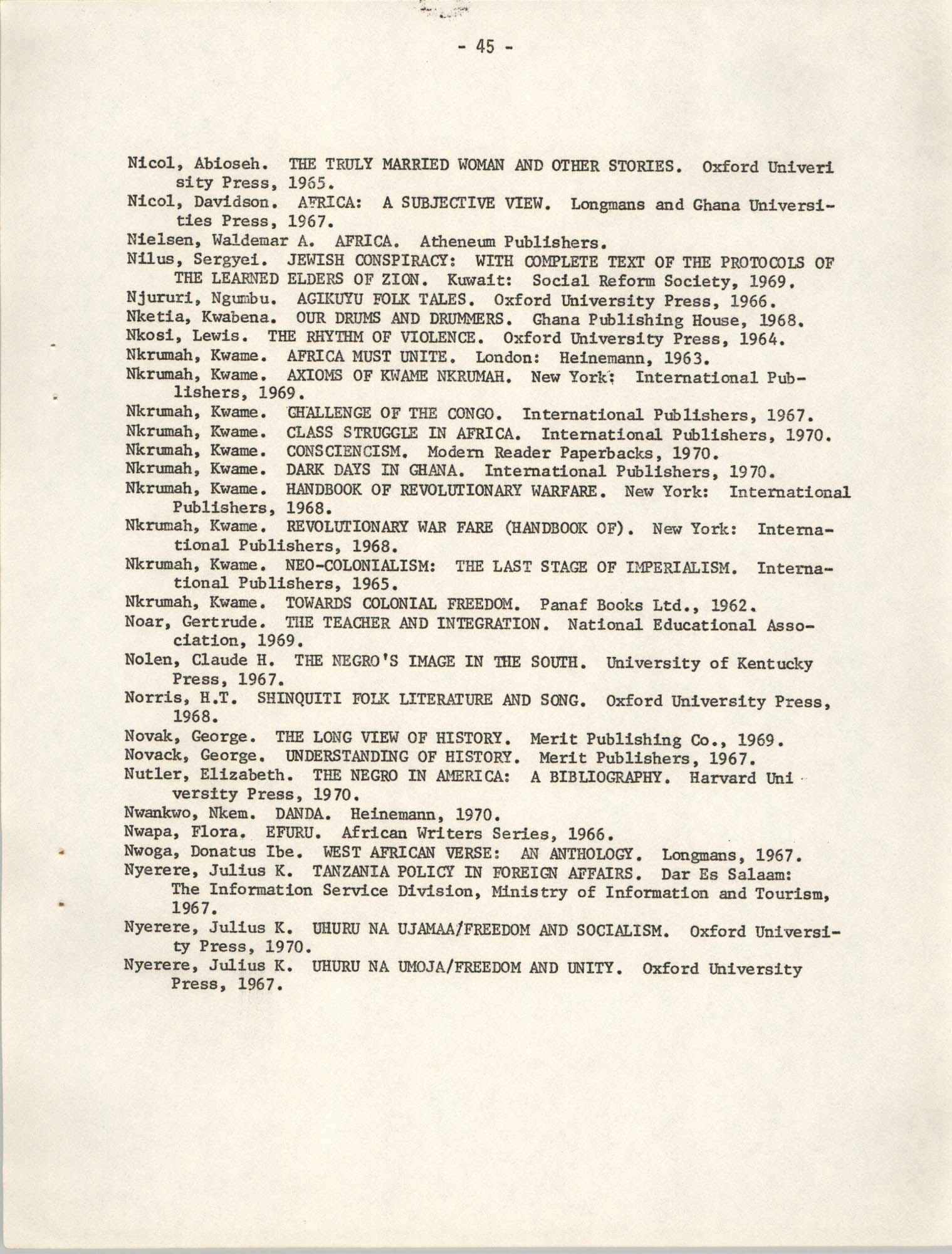Howard University Department of Afro-American Studies Reading Materials, Page 45