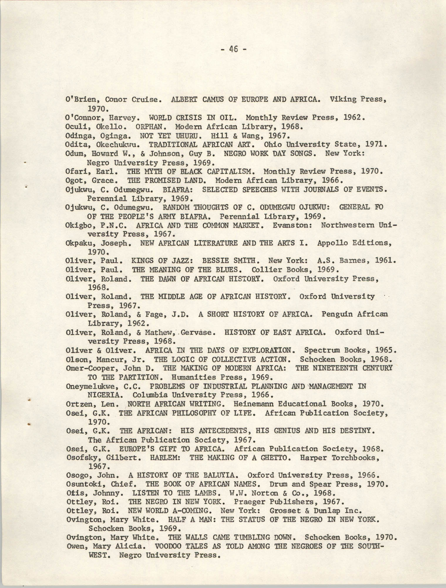 Howard University Department of Afro-American Studies Reading Materials, Page 46