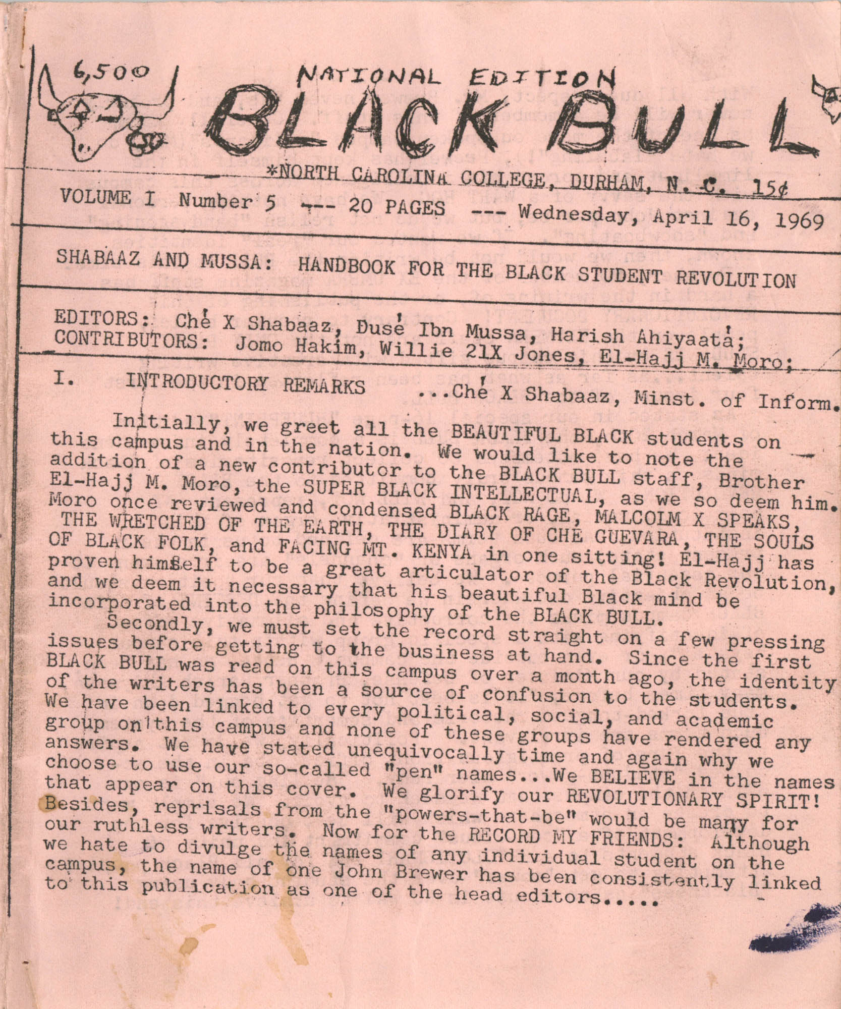 National Edition Black Bull, Volume I, Number 5, Page 1