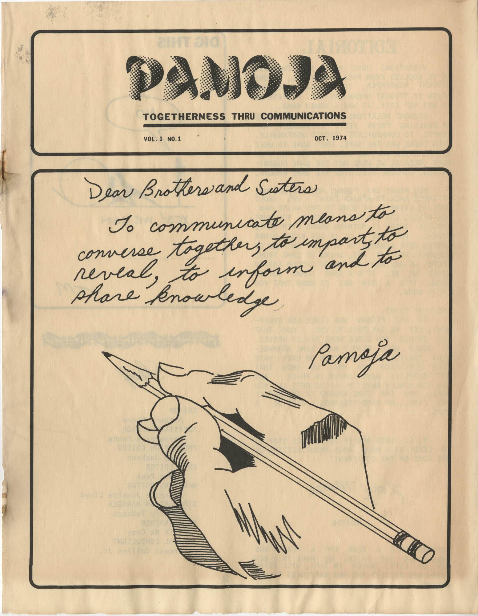 Pamoja, Vol. 1, No. 1, Page 1