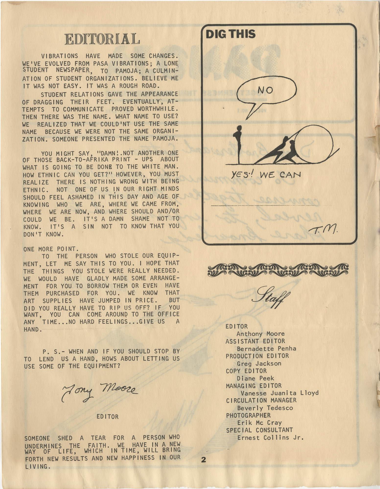 Pamoja, Vol. 1, No. 1, Page 2