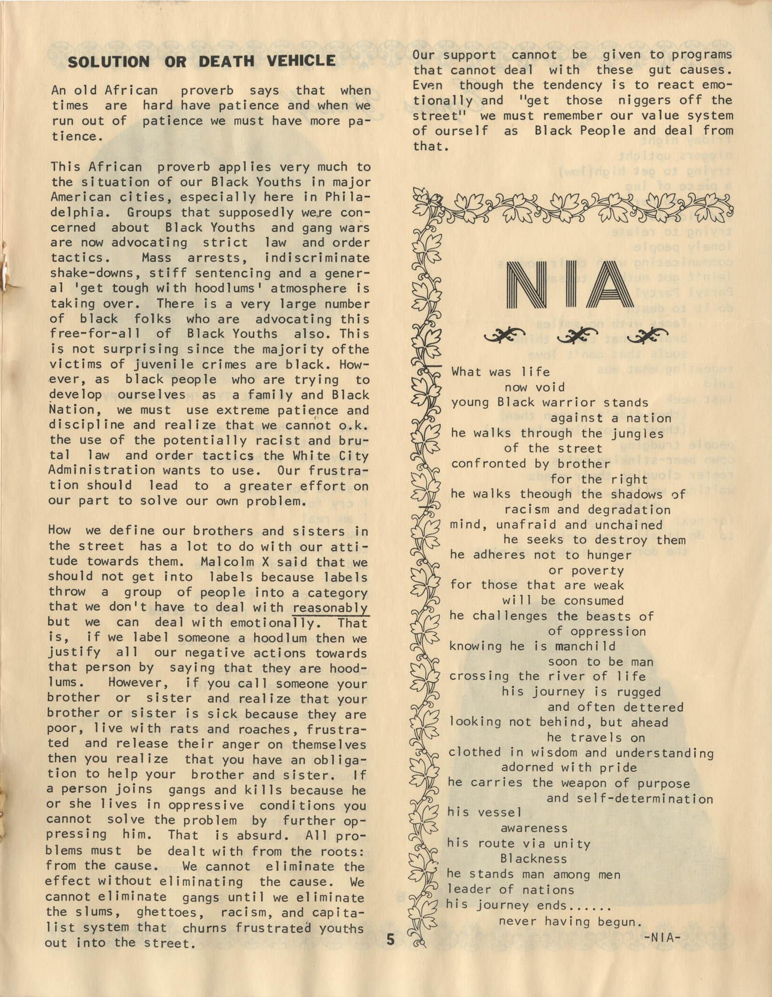 Pamoja, Vol. 1, No. 1, Page 5