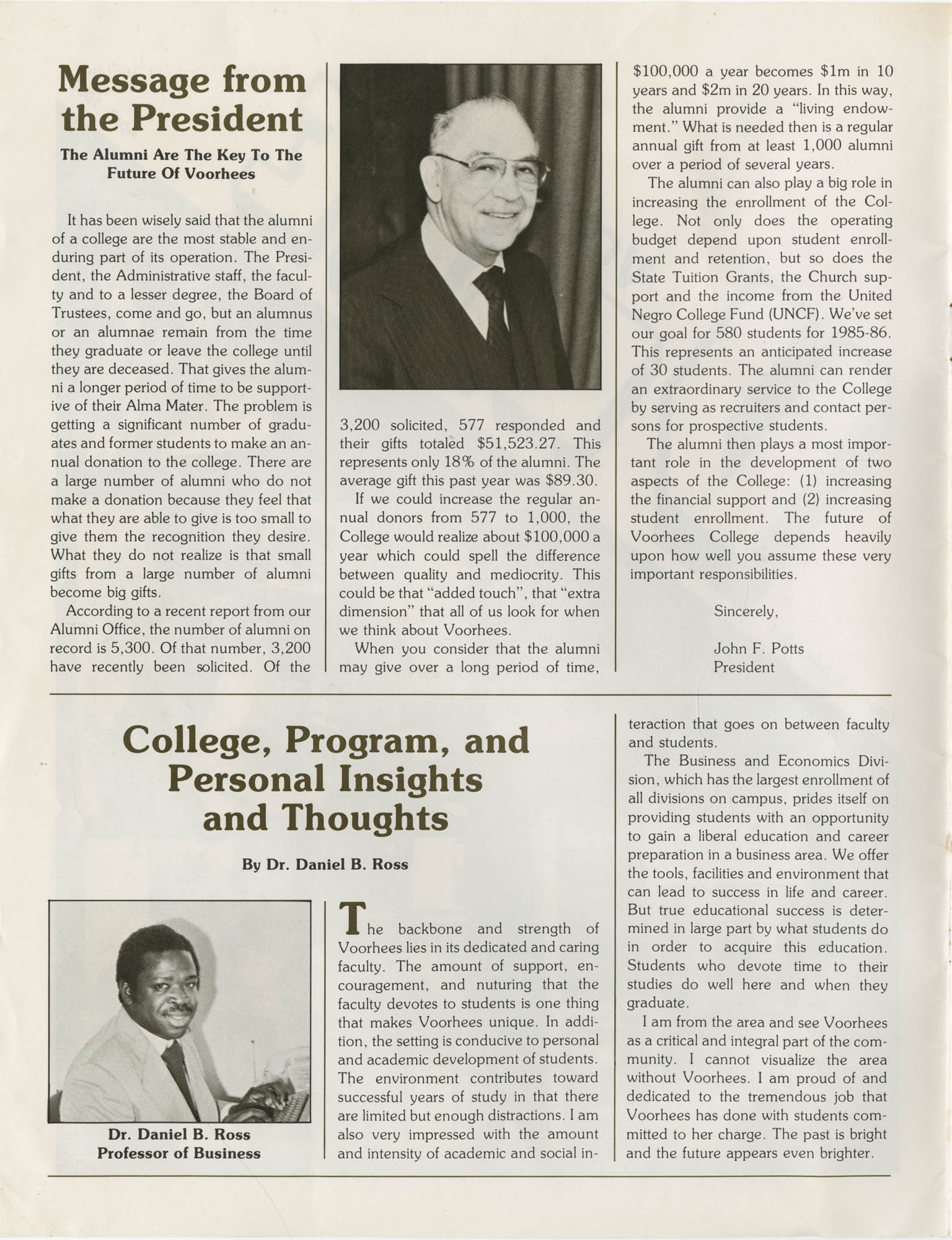 Voorhees Voice, Volume 2, Number 1, April 1985, Front Cover Interior