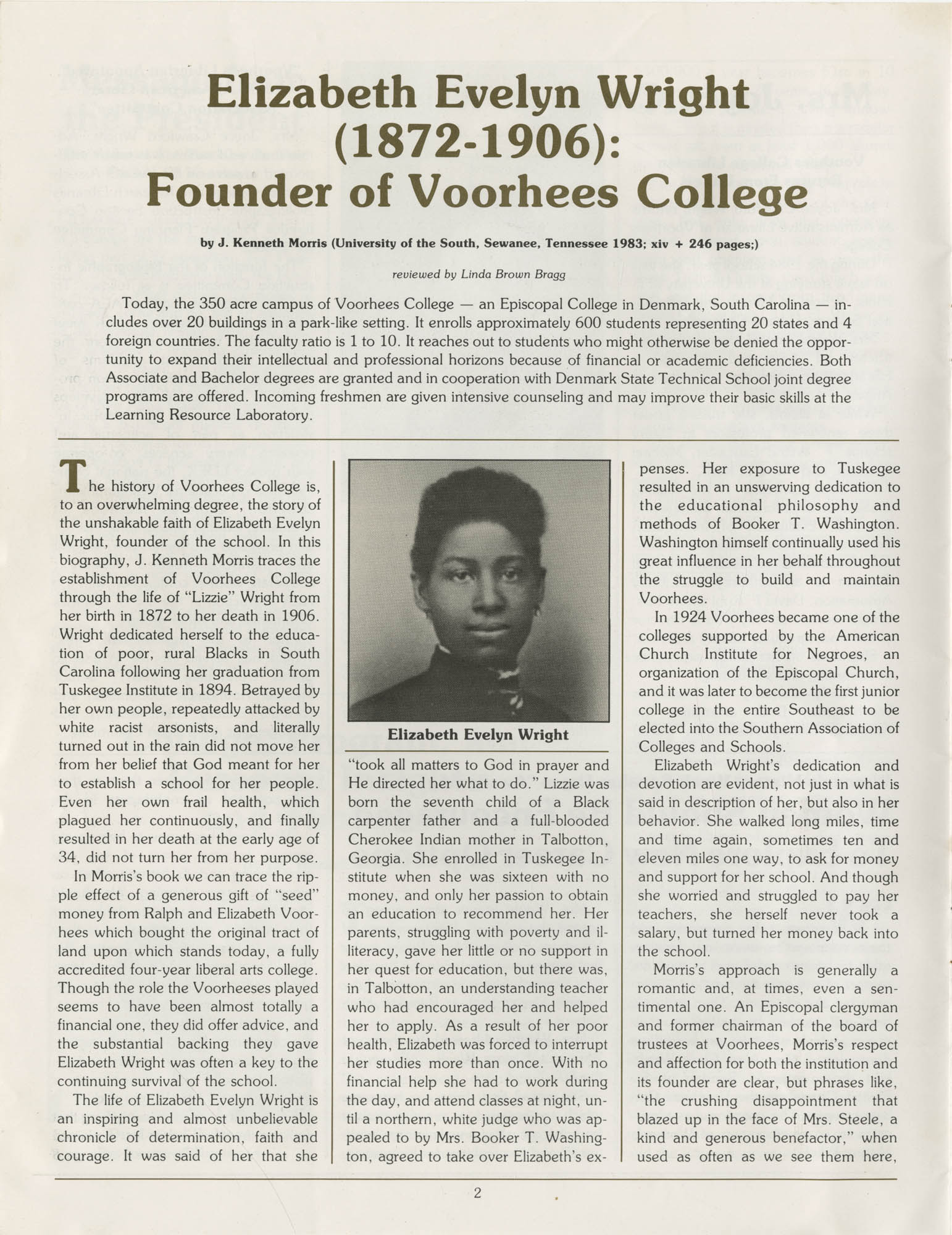 Voorhees Voice, Volume 2, Number 1, April 1985, Page 2