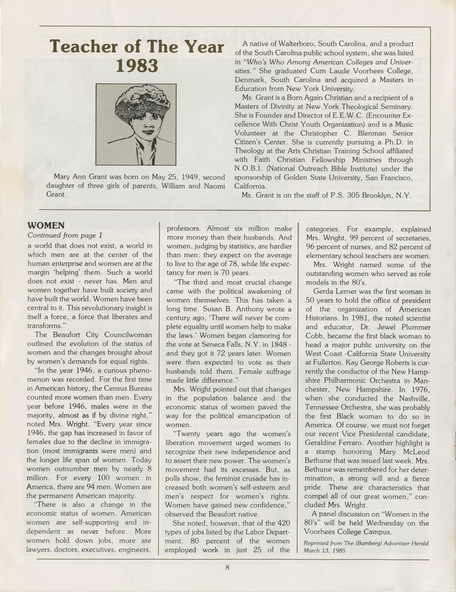 Voorhees Voice, Volume 2, Number 1, April 1985, Page 8