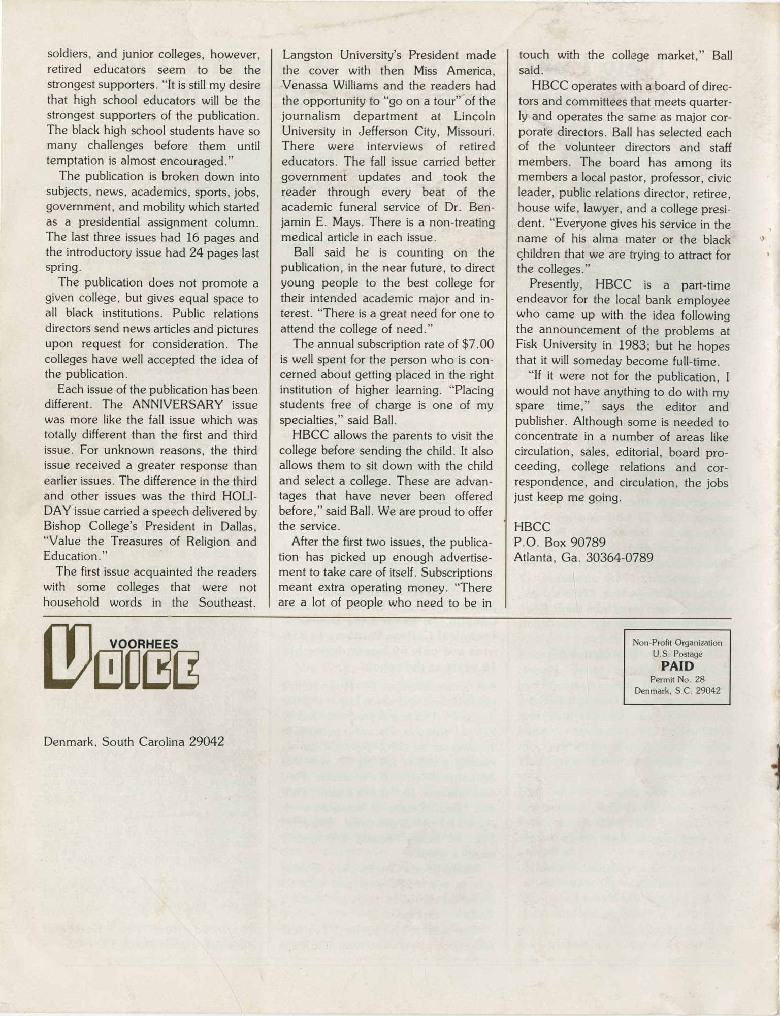 Voorhees Voice, Volume 2, Number 1, April 1985, Back Cover Exterior