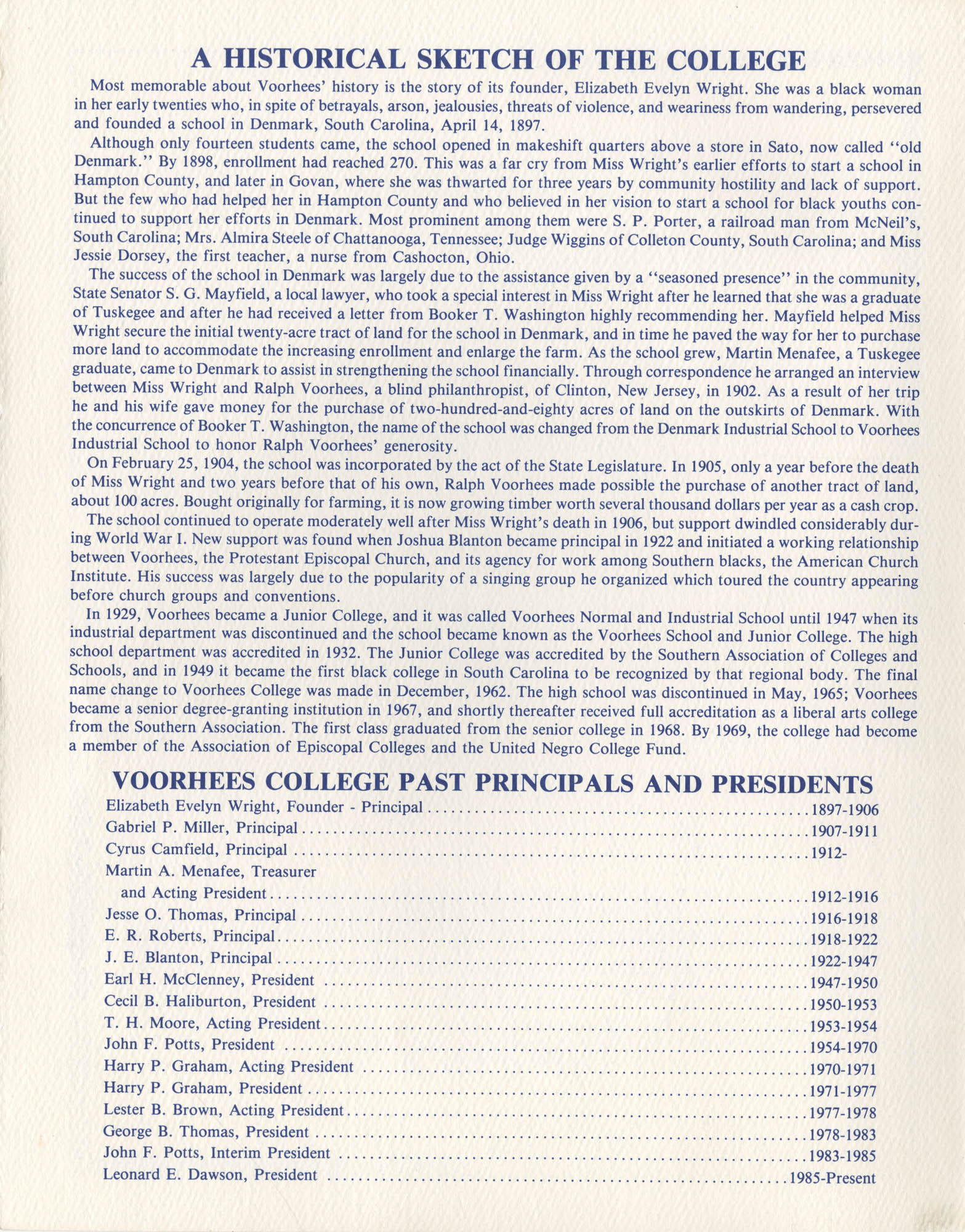 91st Anniversary of The Founding of Voorhees College, Page 1