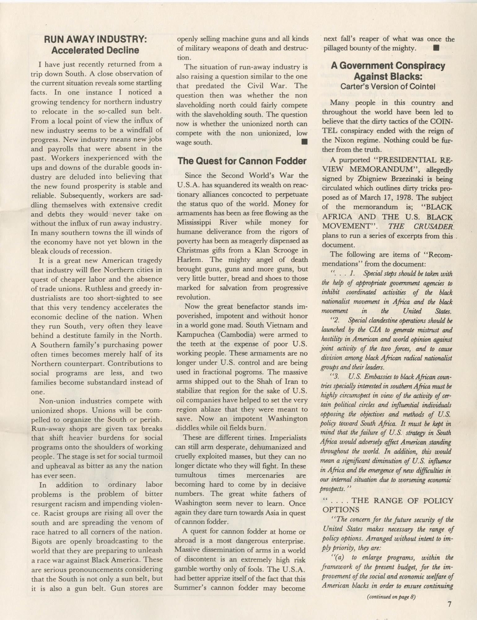 The Crusader, Vol. XII, No. 1, Page 7