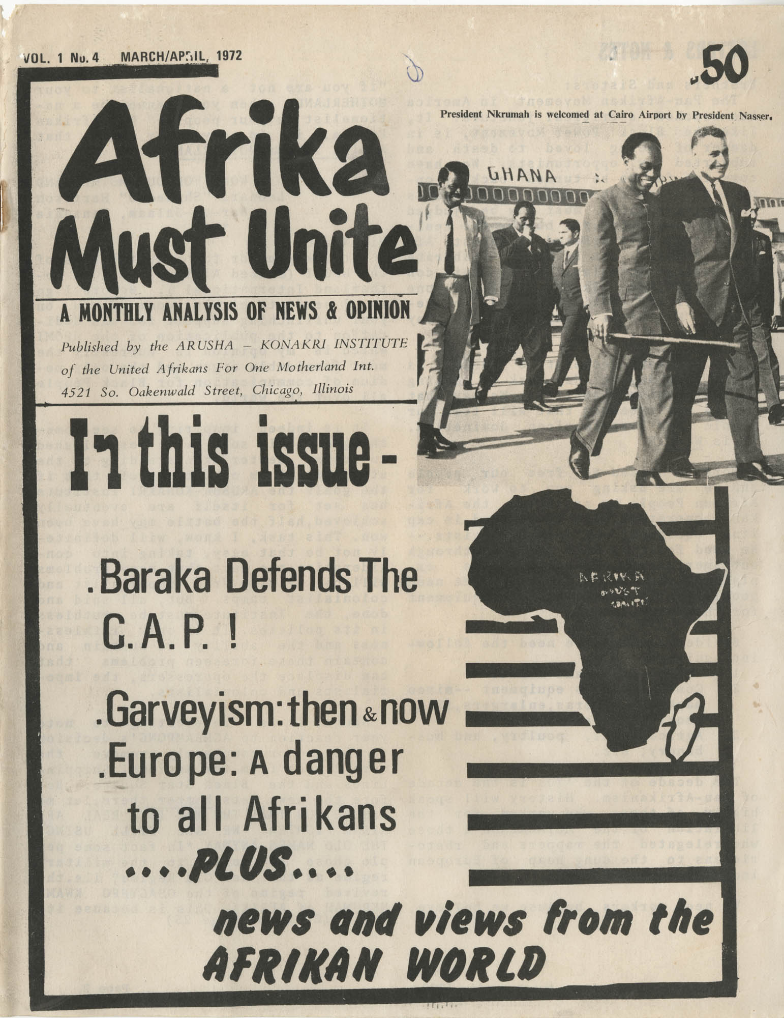 Afrika Must Unite, Vol. 1, No. 4, Cover