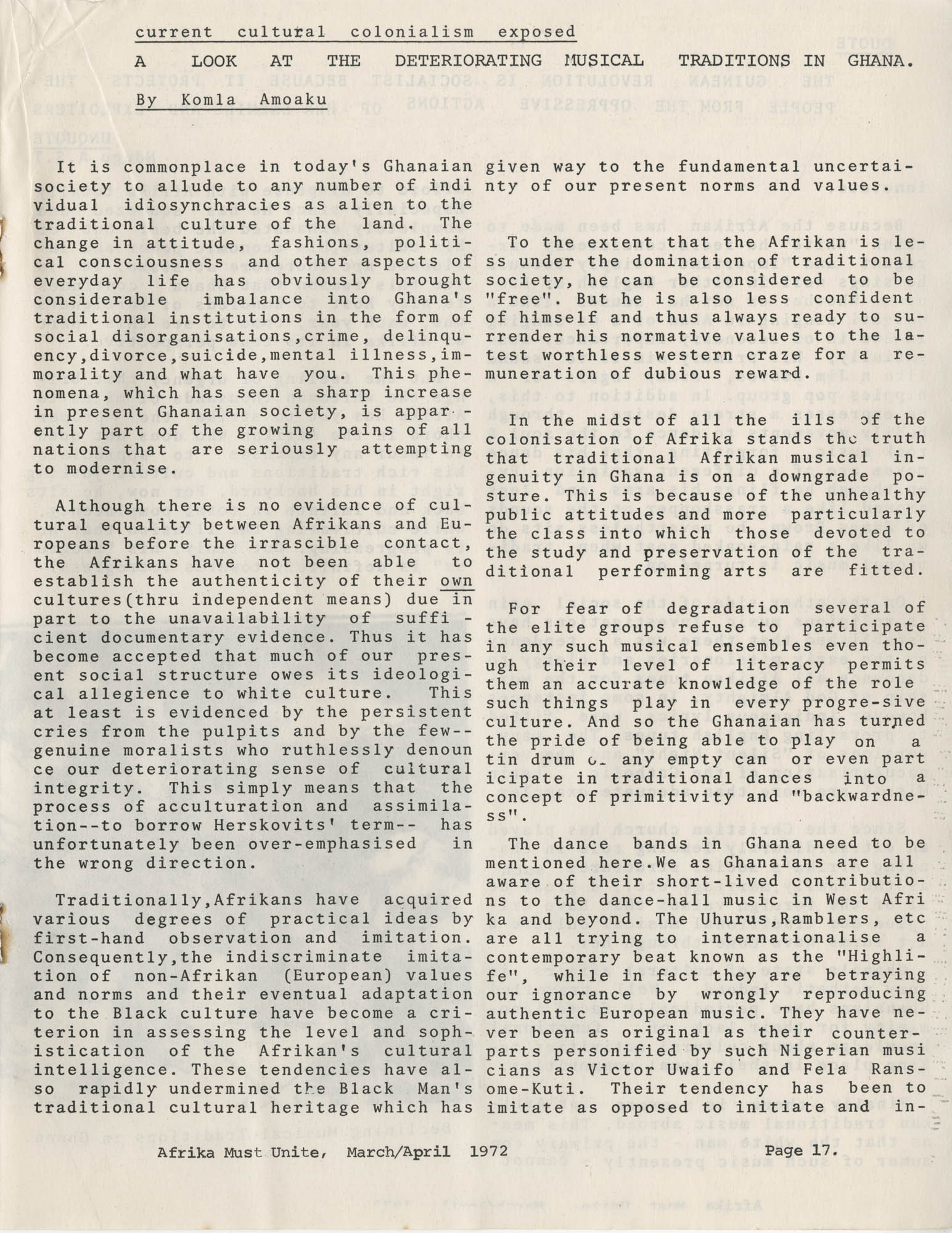 Afrika Must Unite, Vol. 1, No. 4, Page 17