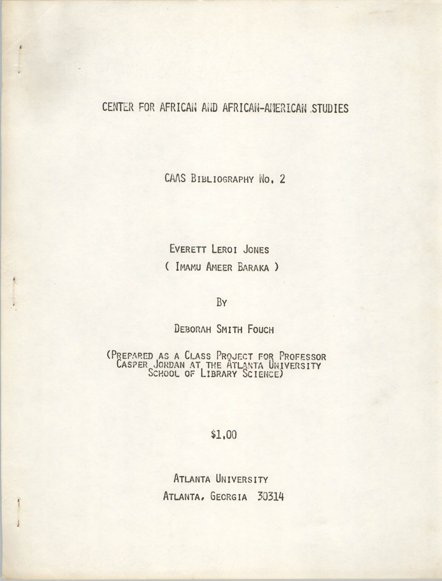 Center for African and African-American Studies Bibliography No. 2, Cover Page