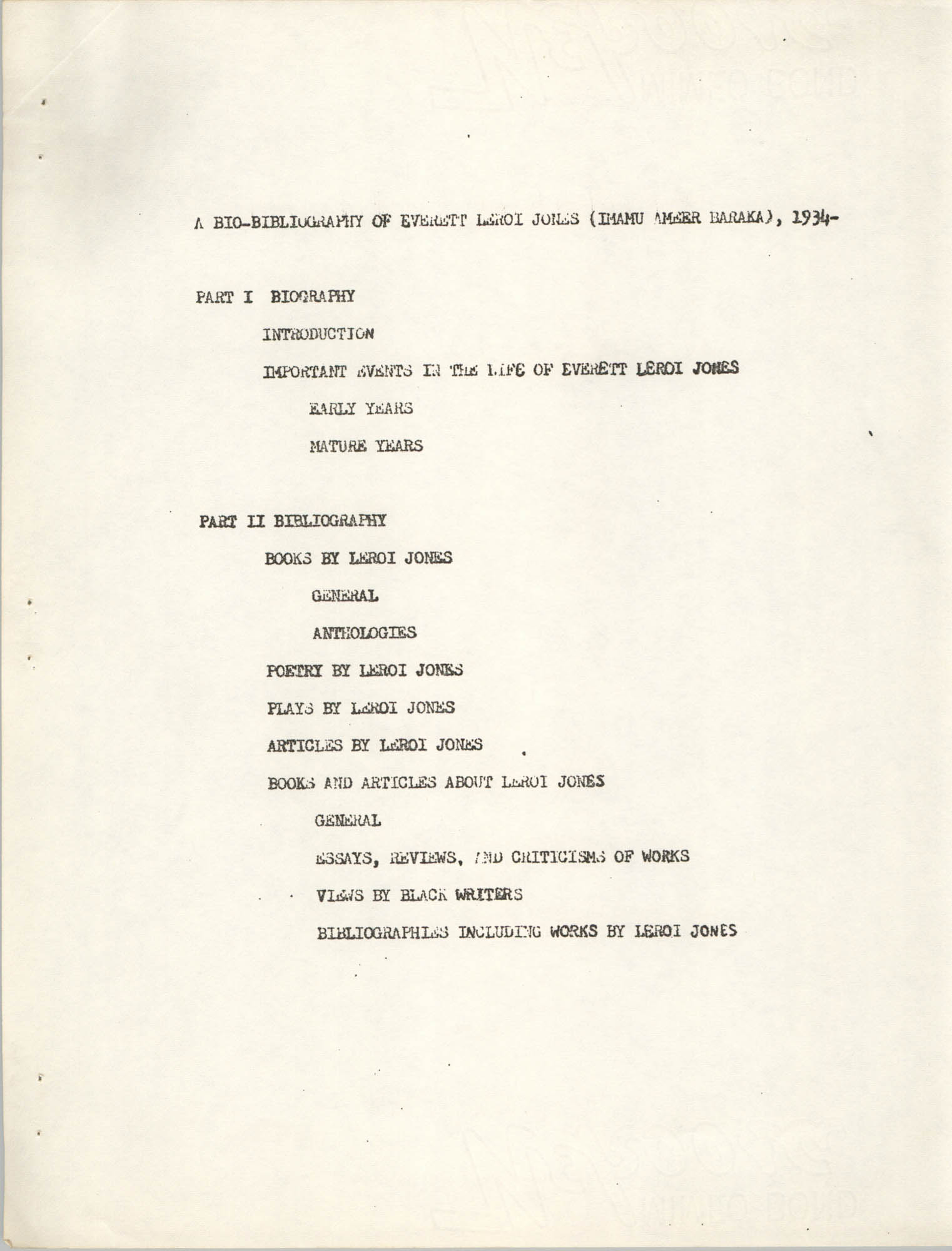 Center for African and African-American Studies Bibliography No. 2, Page 1