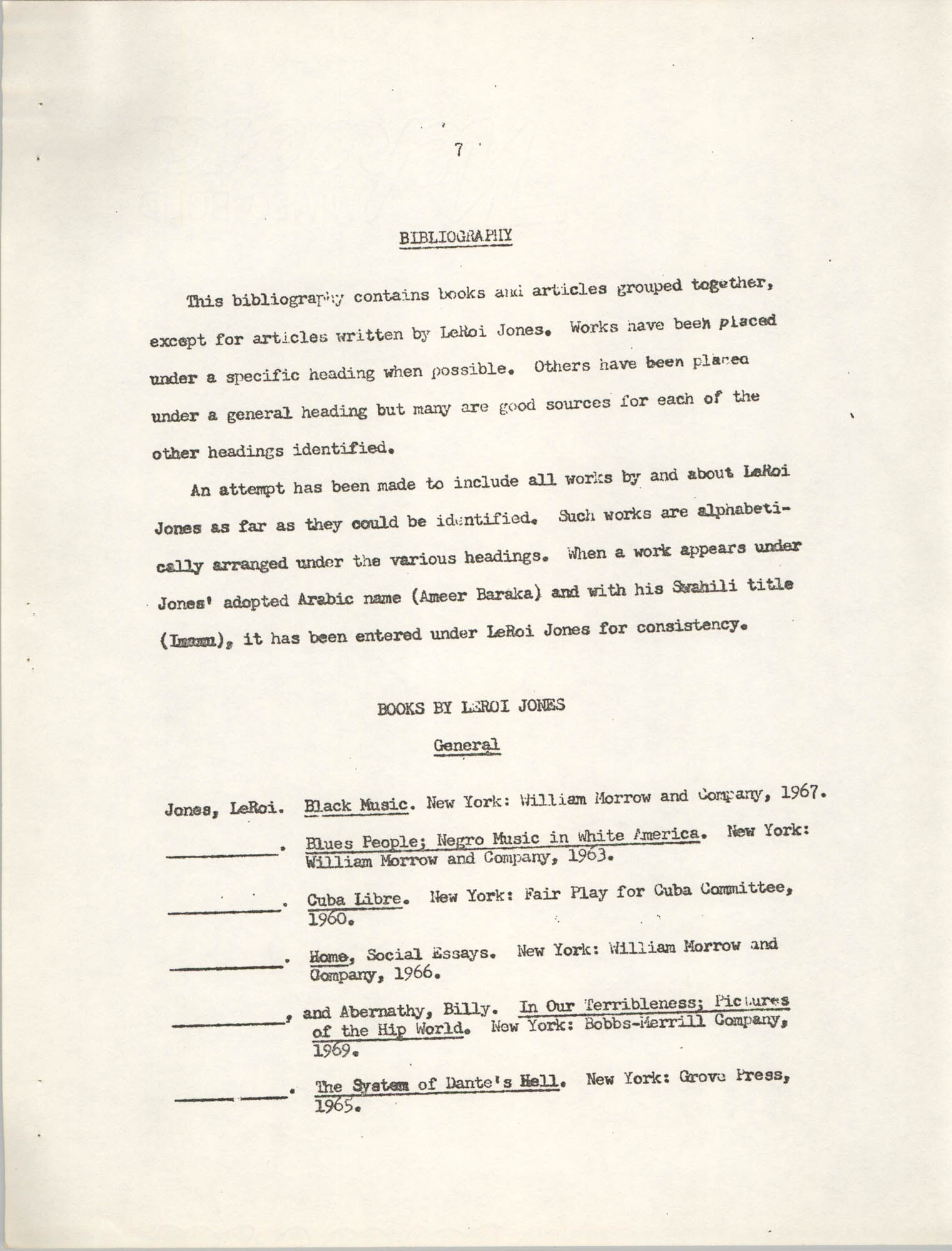 Center for African and African-American Studies Bibliography No. 2, Page 7