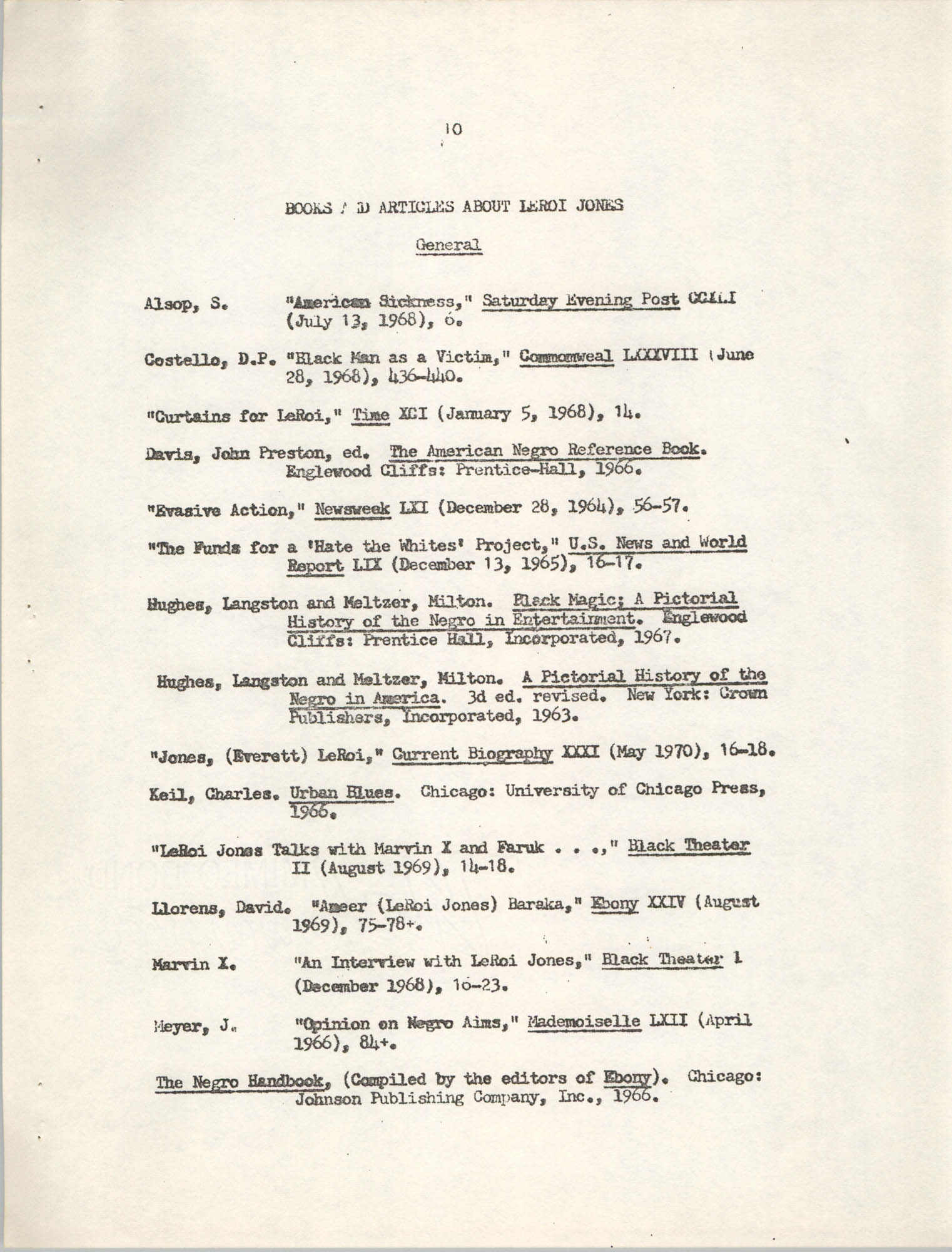 Center for African and African-American Studies Bibliography No. 2, Page 10