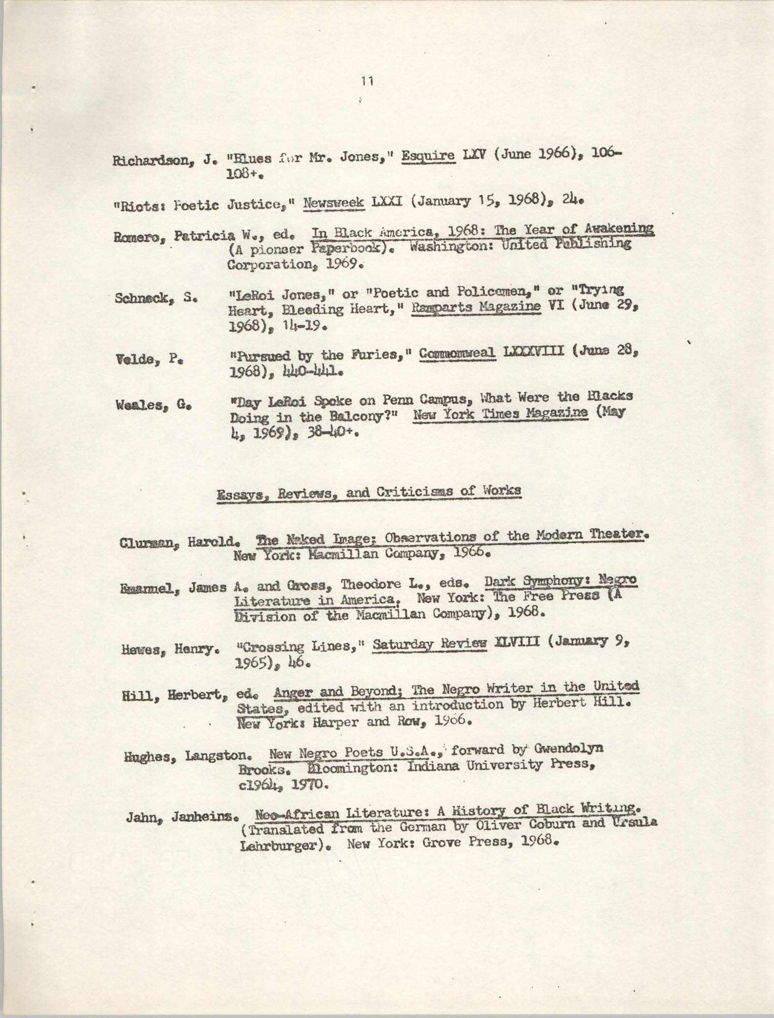 Center for African and African-American Studies Bibliography No. 2, Page 11