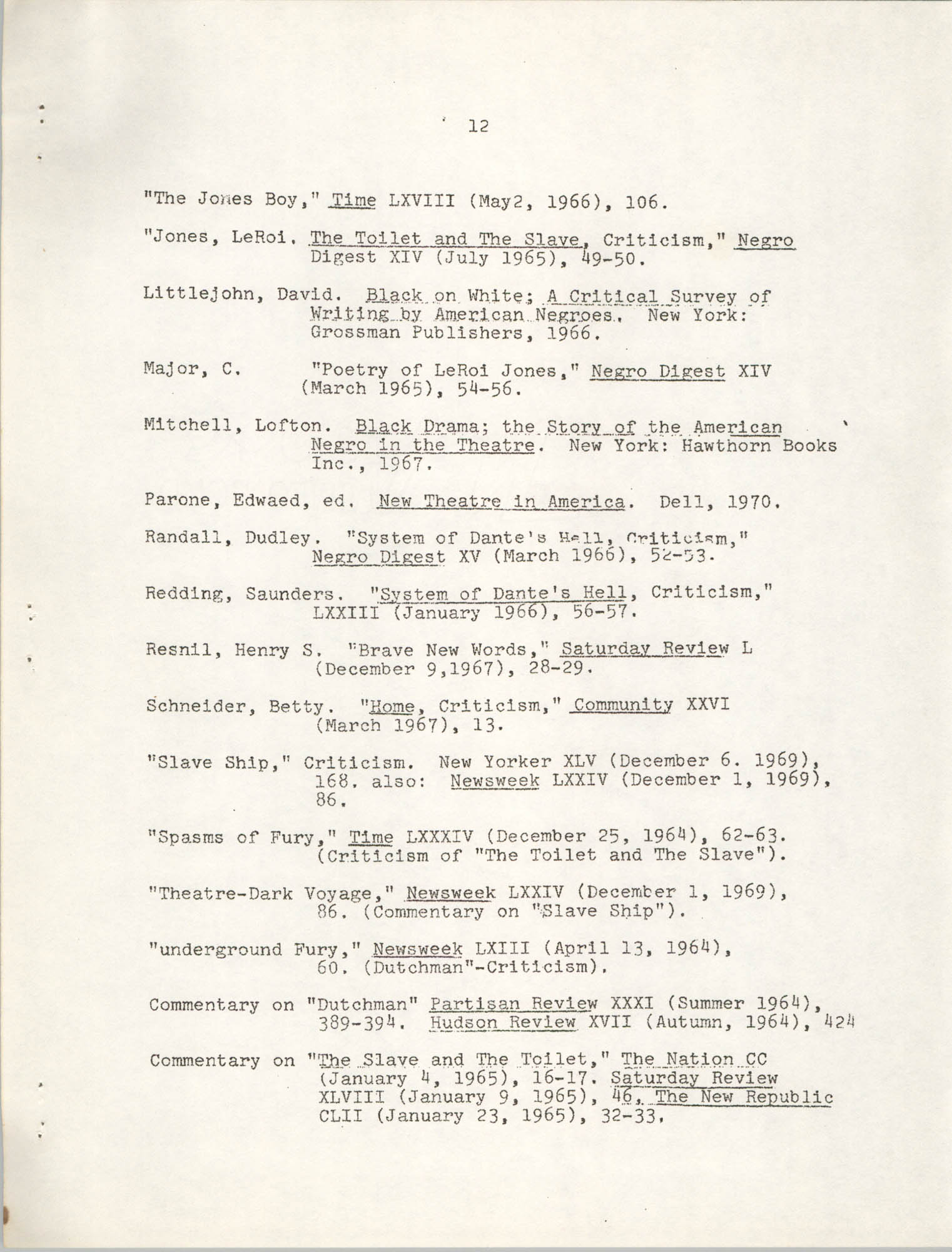 Center for African and African-American Studies Bibliography No. 2, Page 12