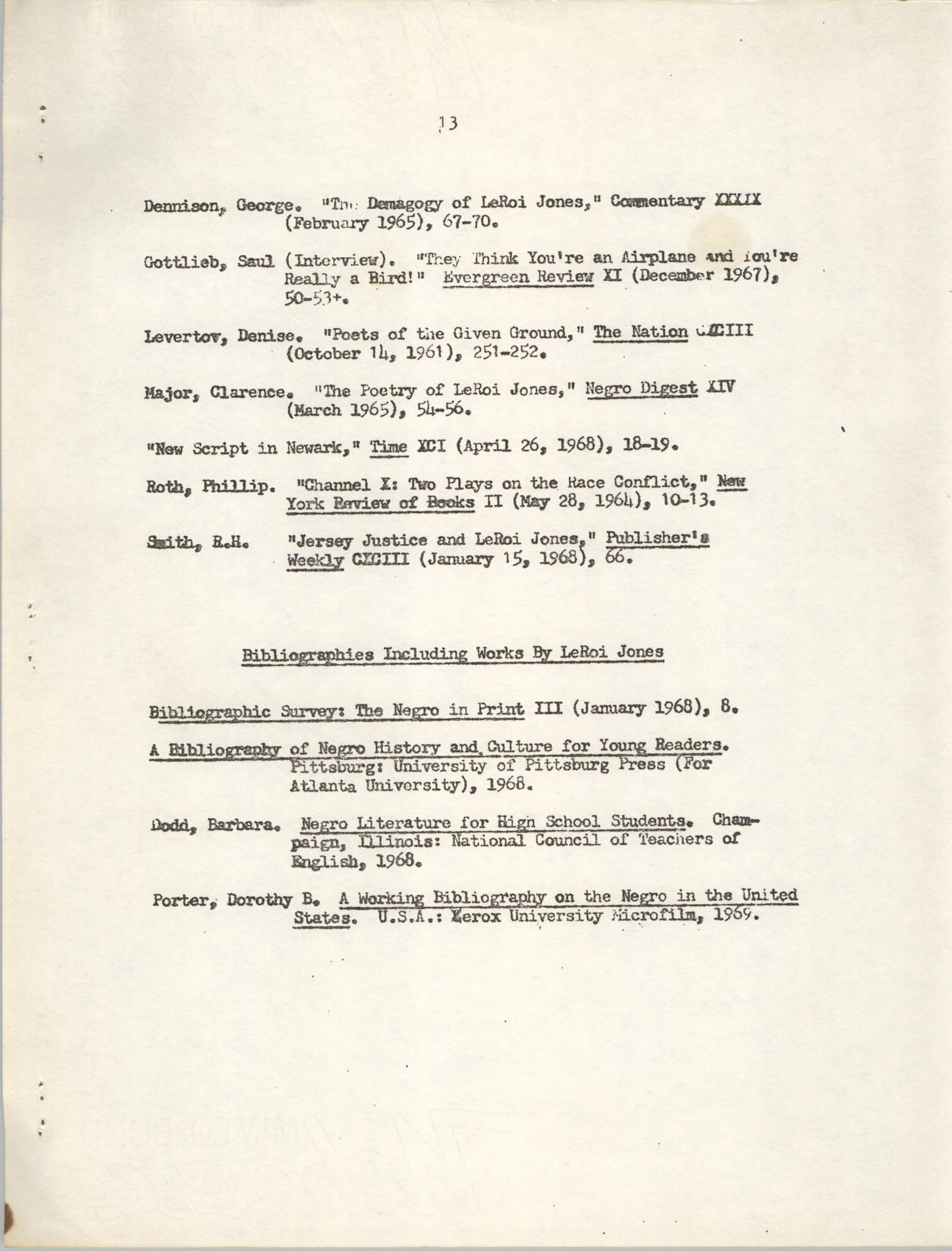 Center for African and African-American Studies Bibliography No. 2, Page 13