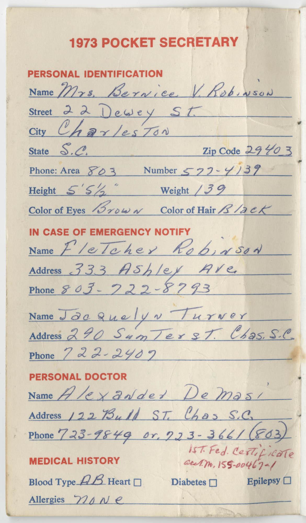 Bernice Robinson's 1973 Pocket Secretary, Personal Information