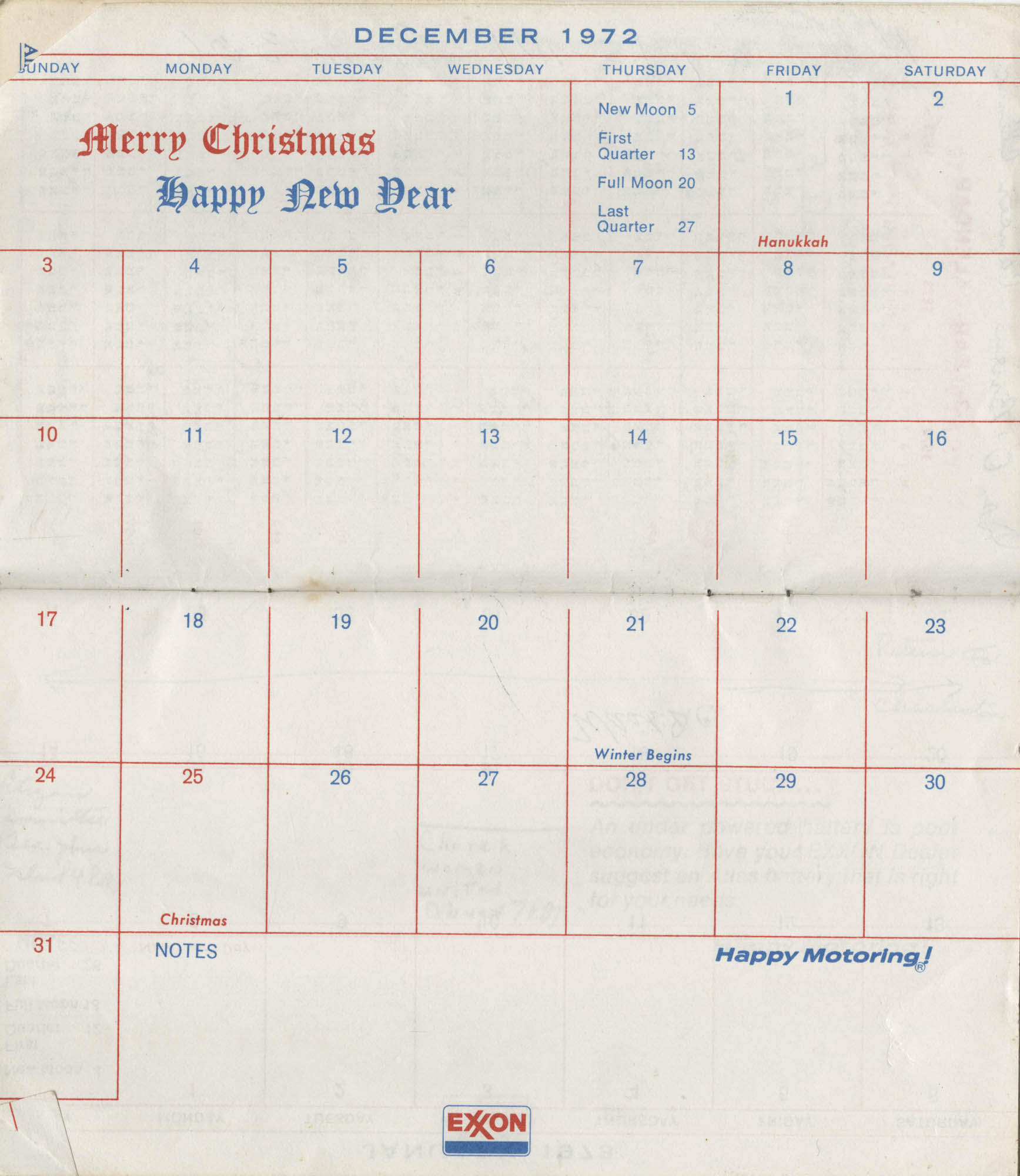 Bernice Robinson's 1973 Pocket Secretary, December 1972