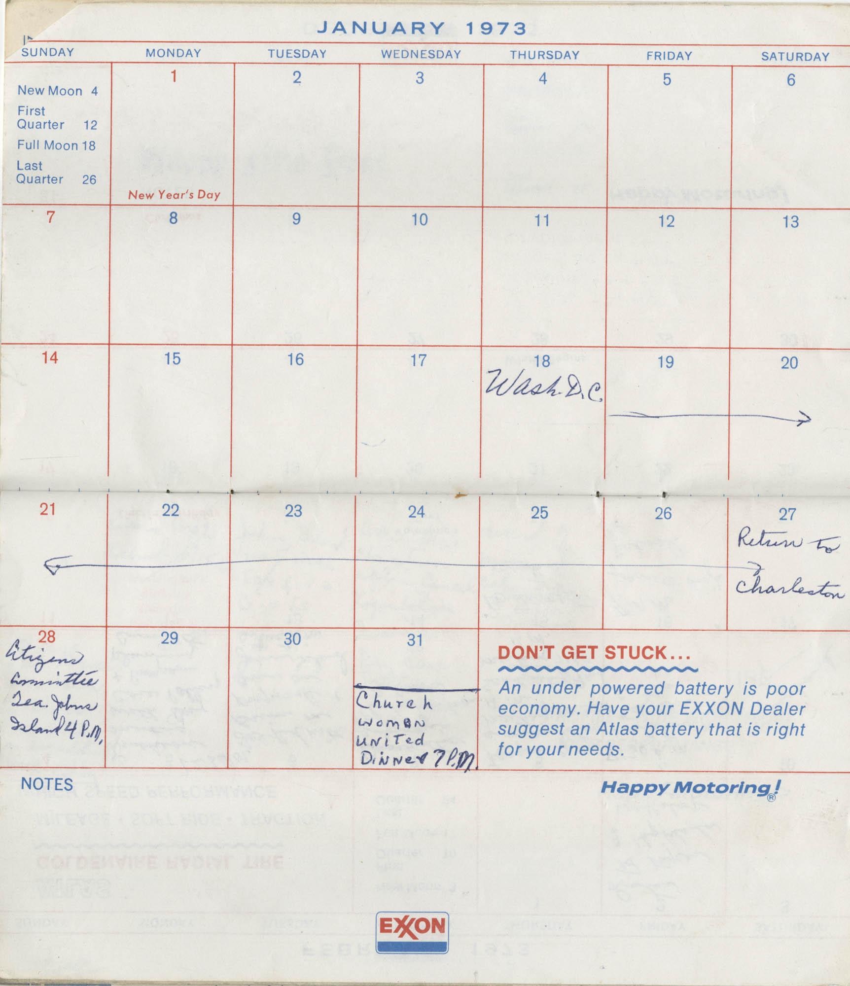 Bernice Robinson's 1973 Pocket Secretary, January