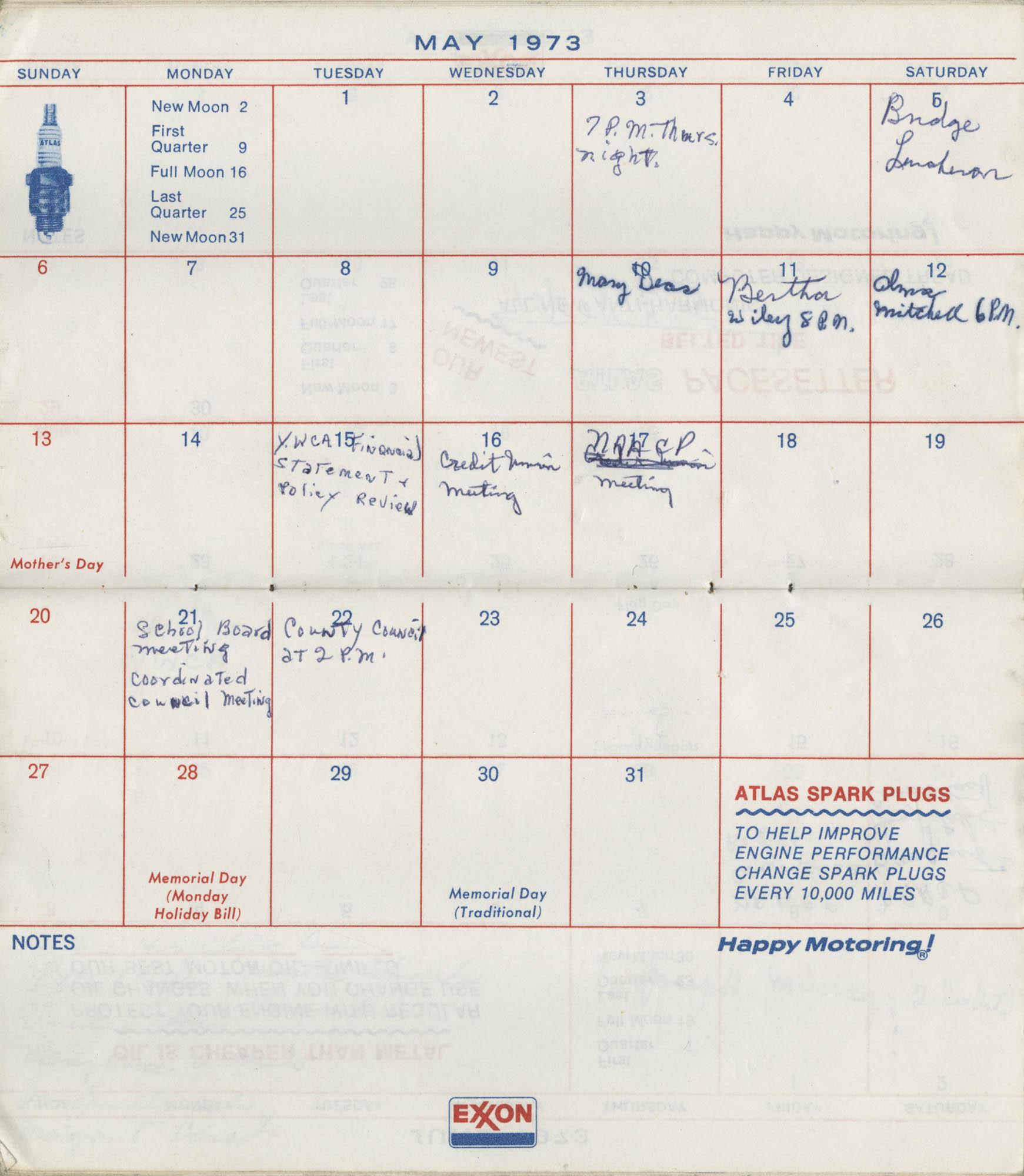 Bernice Robinson's 1973 Pocket Secretary, May