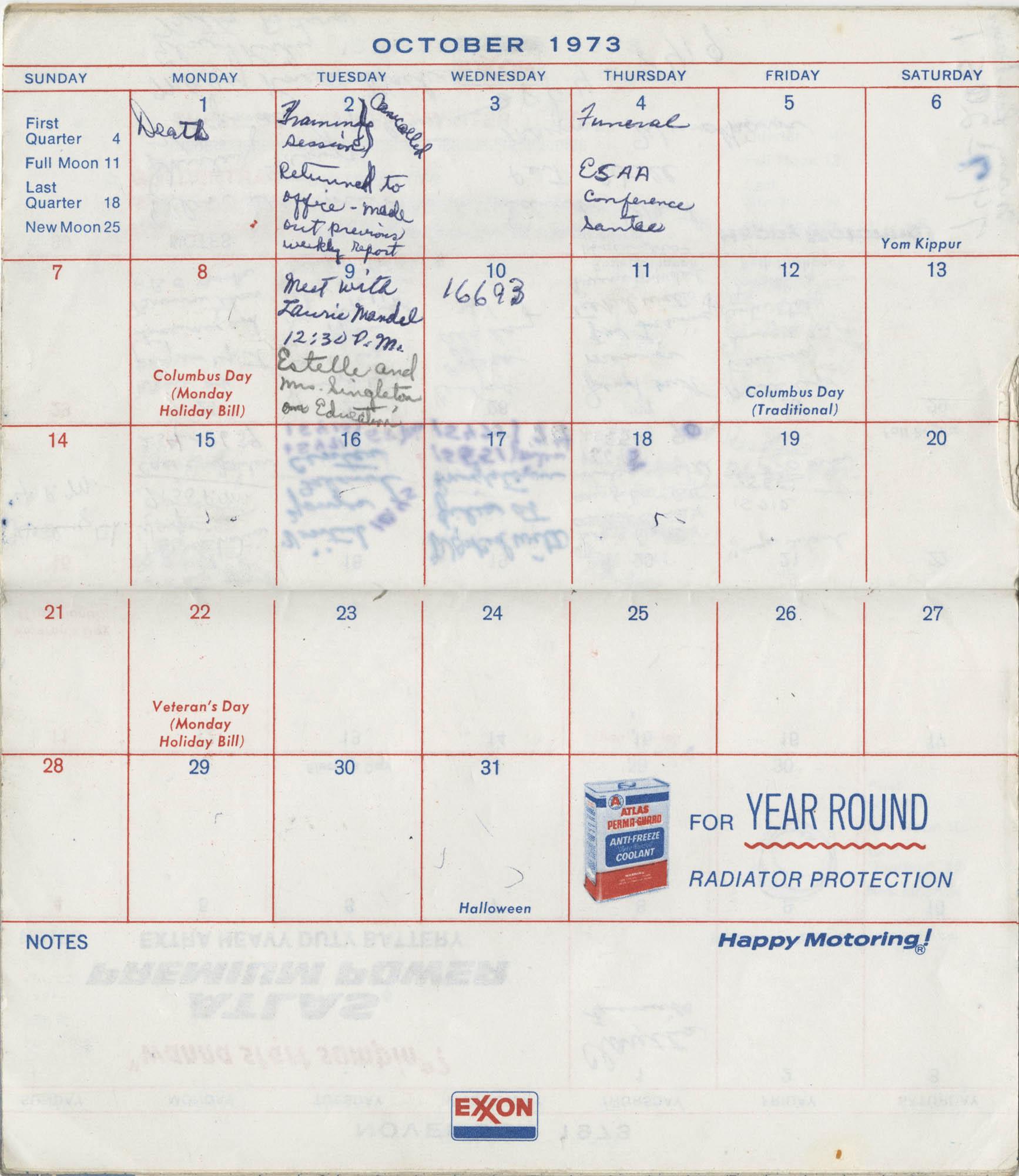 Bernice Robinson's 1973 Pocket Secretary, October