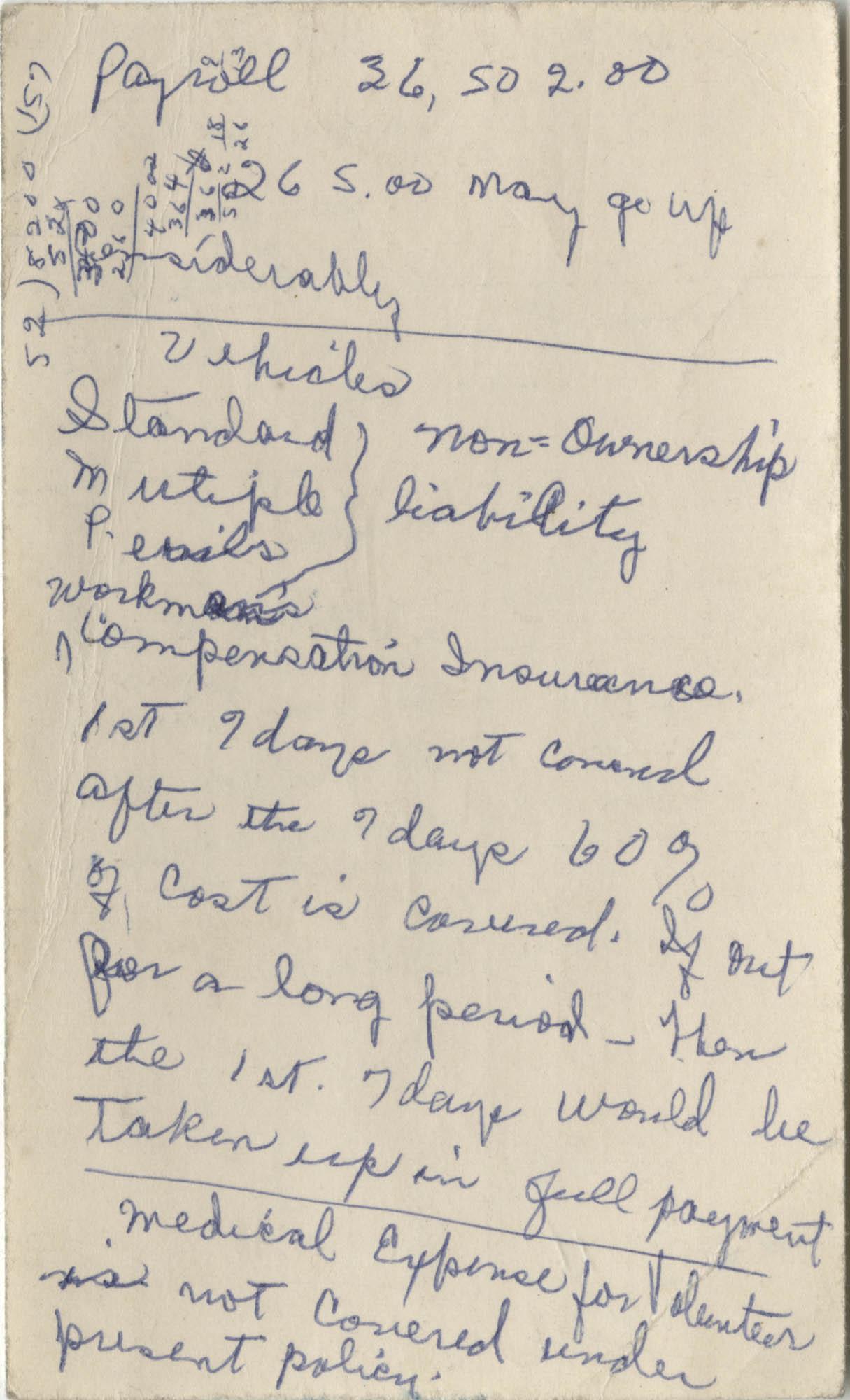 Bernice Robinson's 1973 Pocket Secretary, Loose Notecard Front