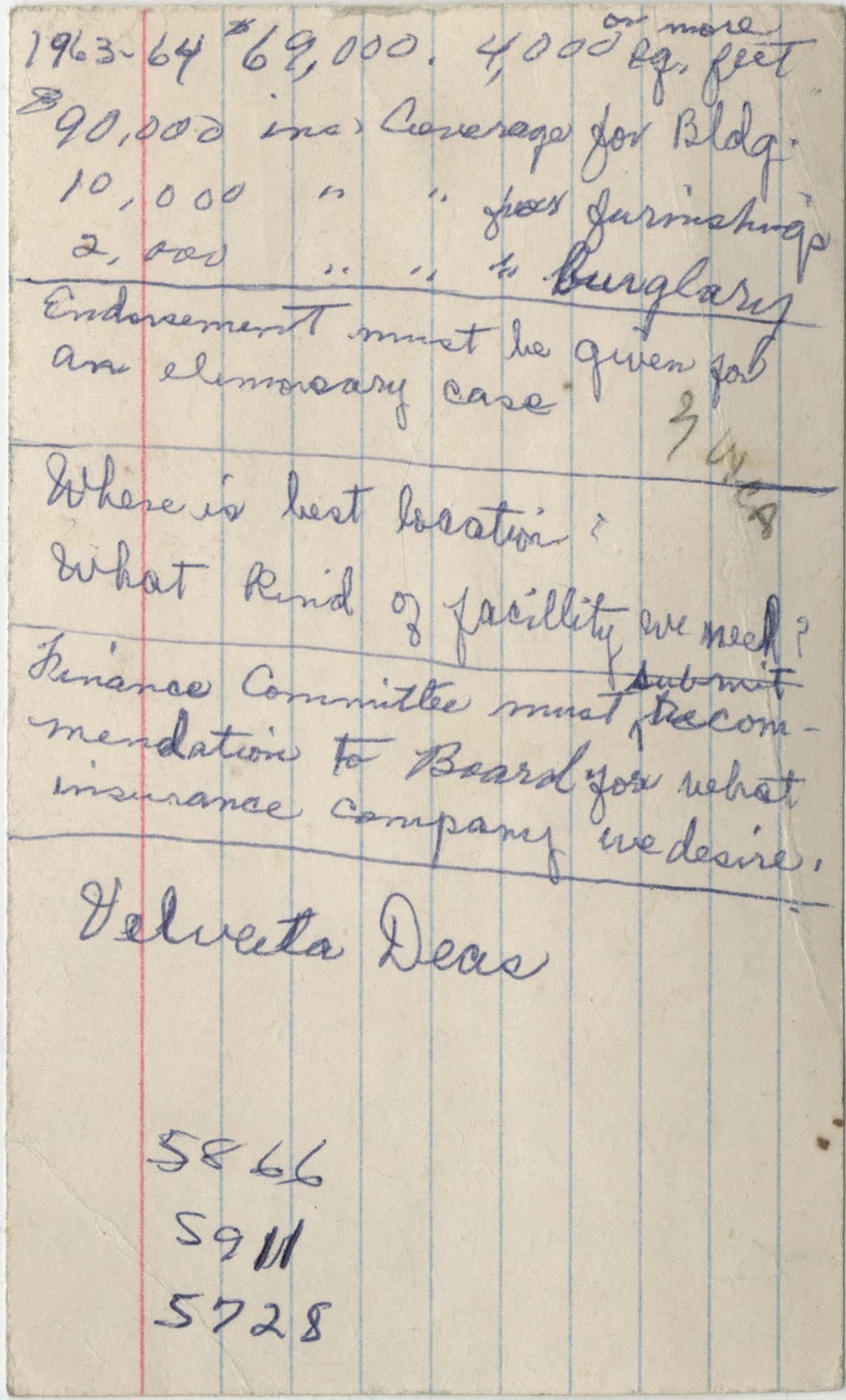 Bernice Robinson's 1973 Pocket Secretary, Loose Notecard Back