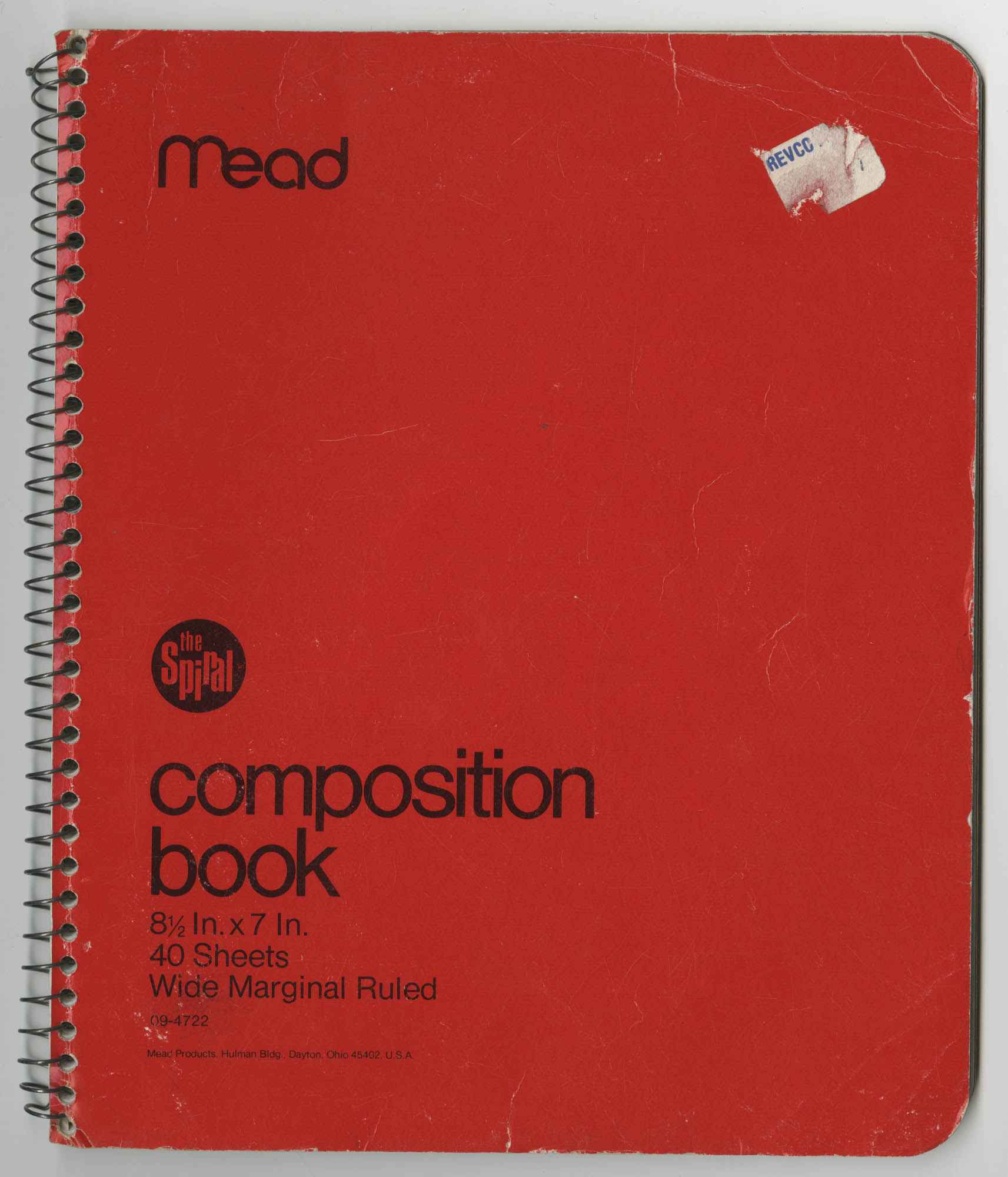 Bernice Robinson Composition Book, Front Cover