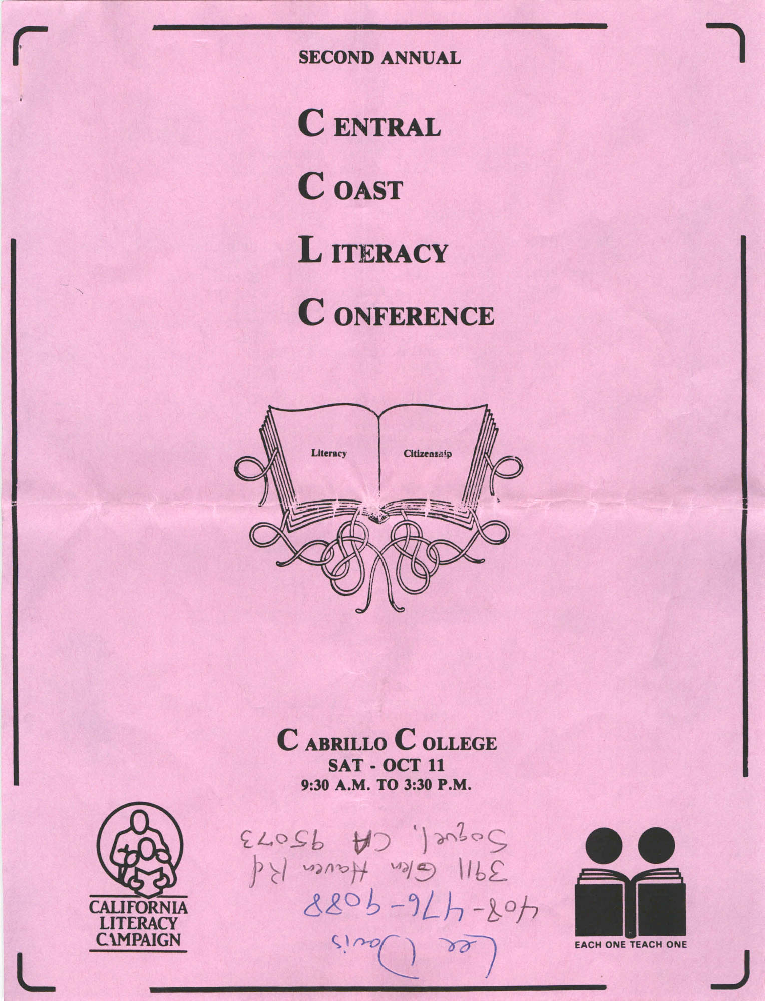 Second Annual Central Coast Literacy Conference Program and Schedule of Events, October 11, 1986, Page 1