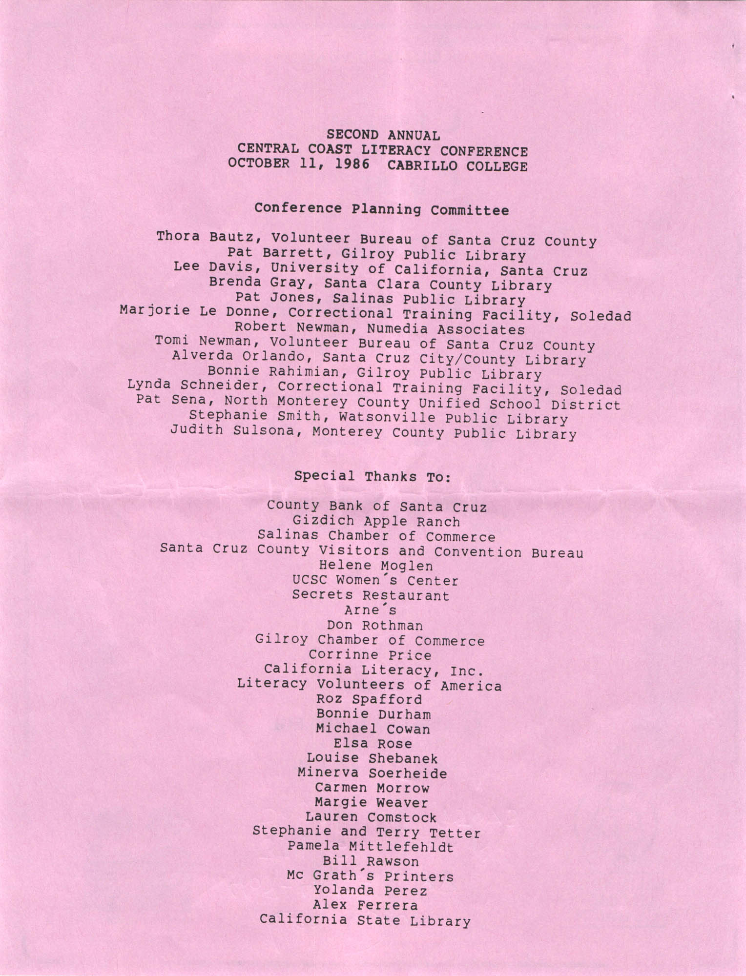 Second Annual Central Coast Literacy Conference Program and Schedule of Events, October 11, 1986, Page 2