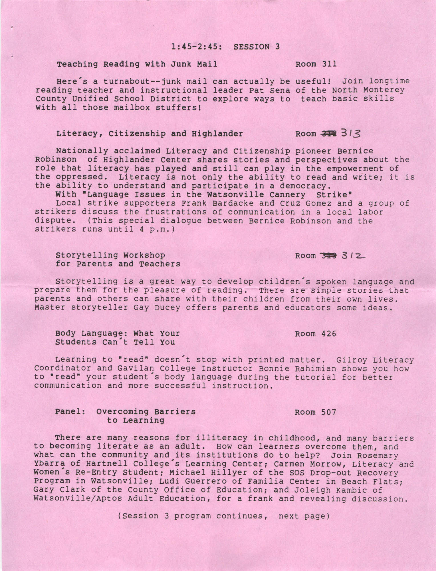 Second Annual Central Coast Literacy Conference Program and Schedule of Events, October 11, 1986, Page 7