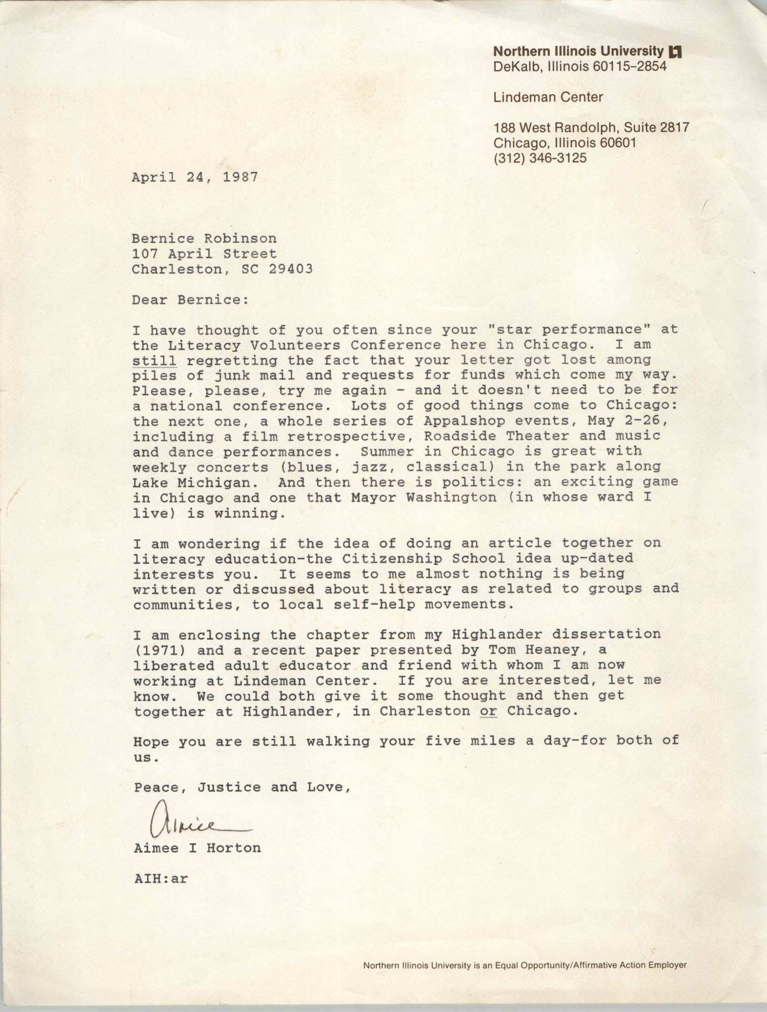 Letter from Aimee I. Horton to Bernice Robinson, April 4, 1987