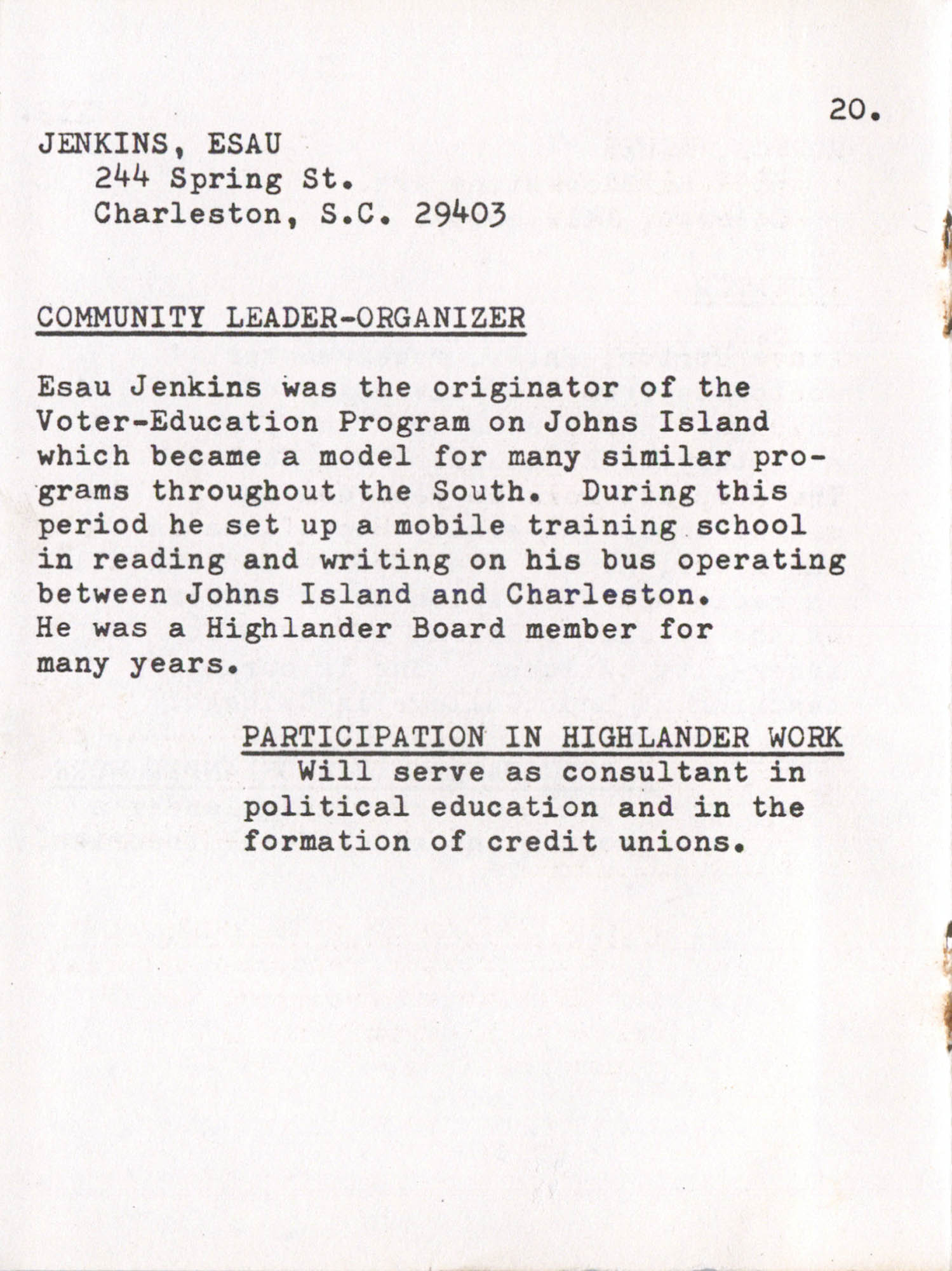 Highlander Research and Educational Center's Committee on Resources Directory, Page 20
