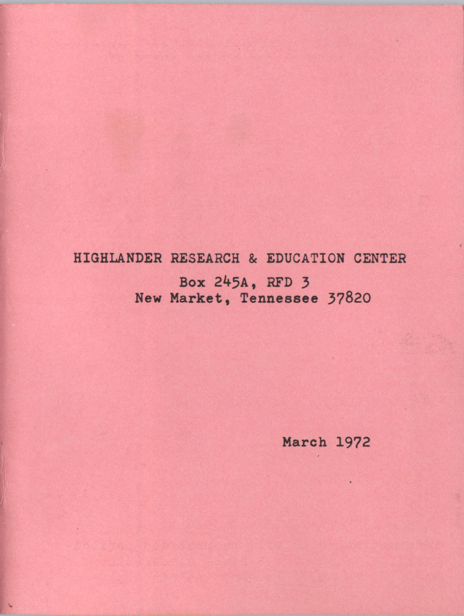 Highlander Research and Educational Center's Committee on Resources Directory, Back Cover Interior