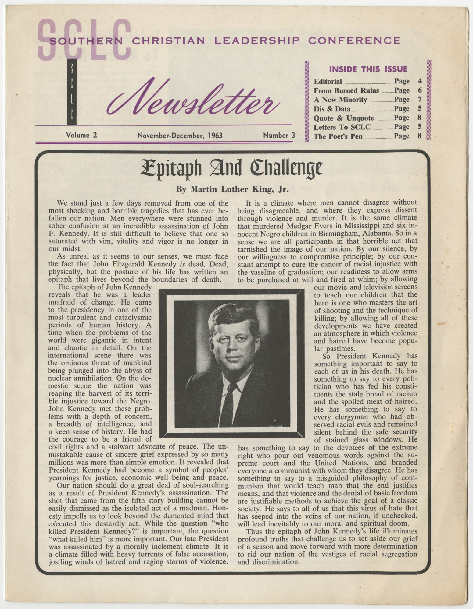 Southern Christian Leadership Conference Newsletter, Volume 2, Number 3, November-December, 1963, Page 1