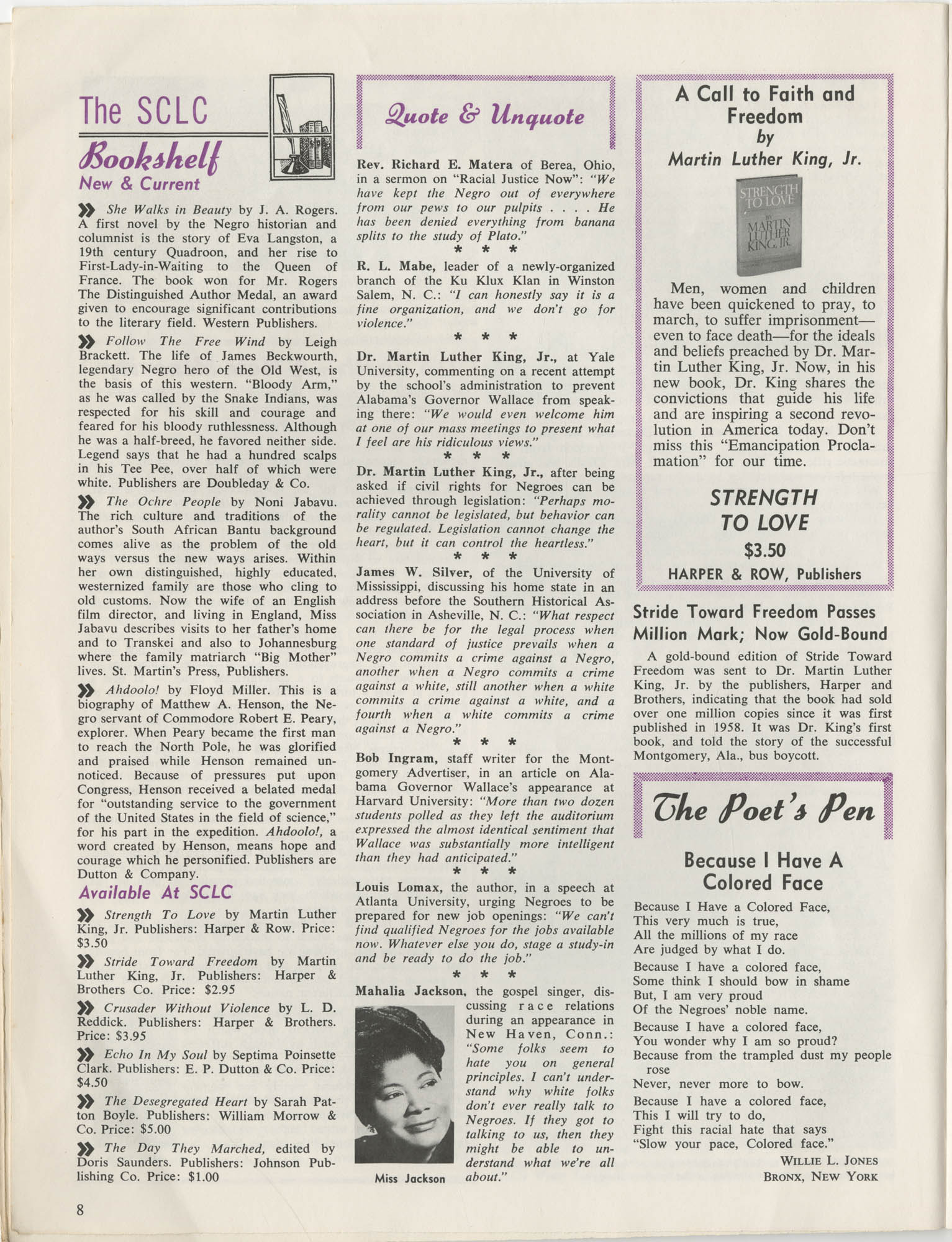 Southern Christian Leadership Conference Newsletter, Volume 2, Number 3, November-December, 1963, Page 8