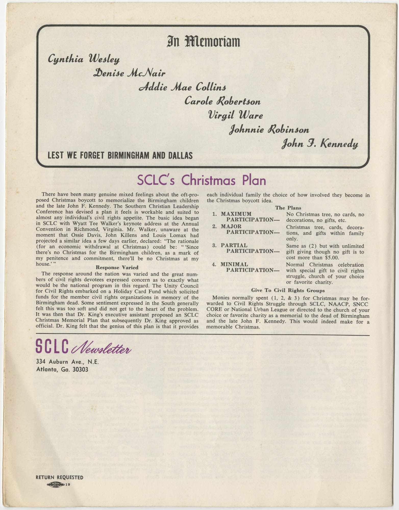 Southern Christian Leadership Conference Newsletter, Volume 2, Number 3, November-December, 1963, Page 12