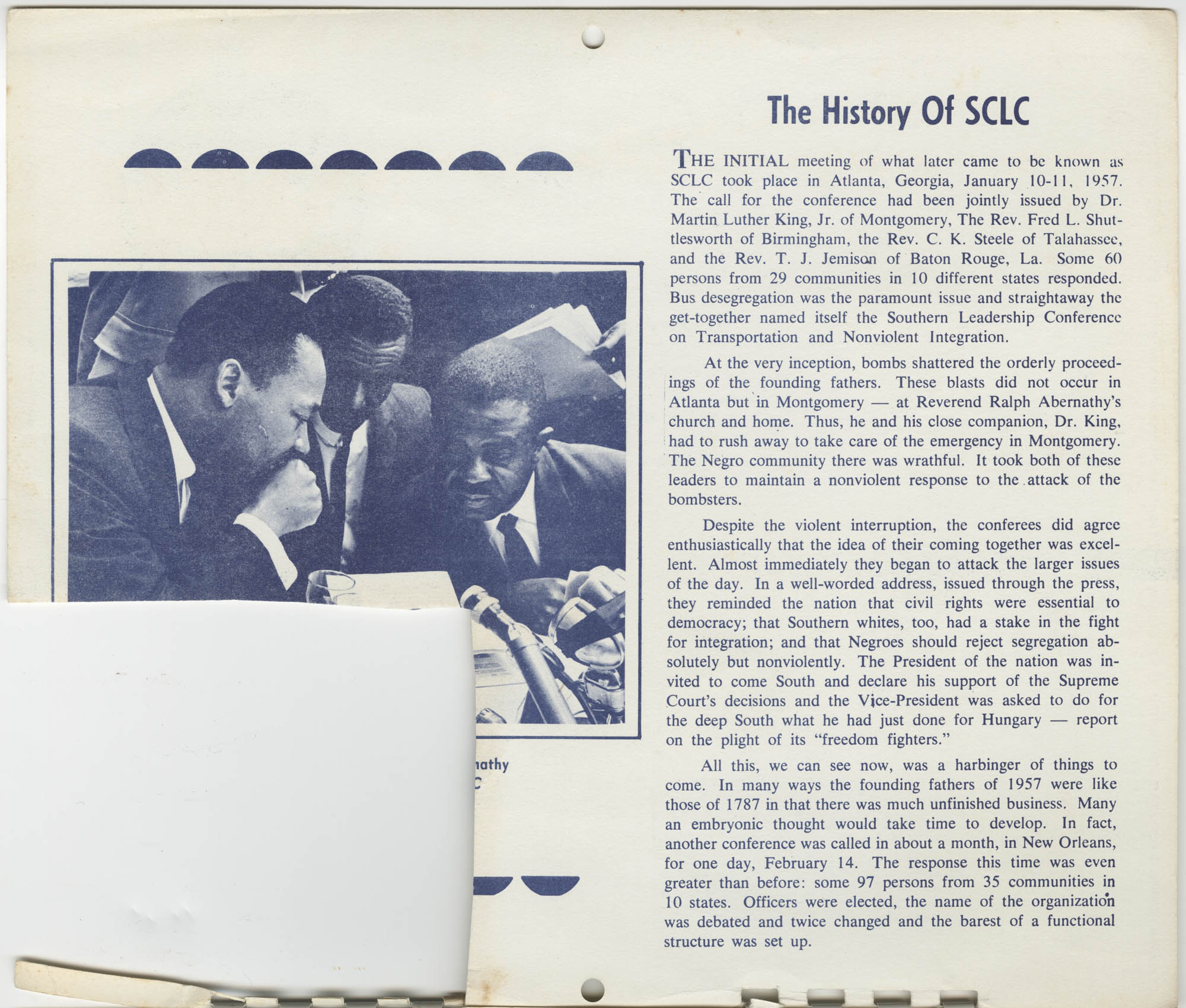 Southern Christian Leadership Conference Newsletter Calendar, January 1965, Top