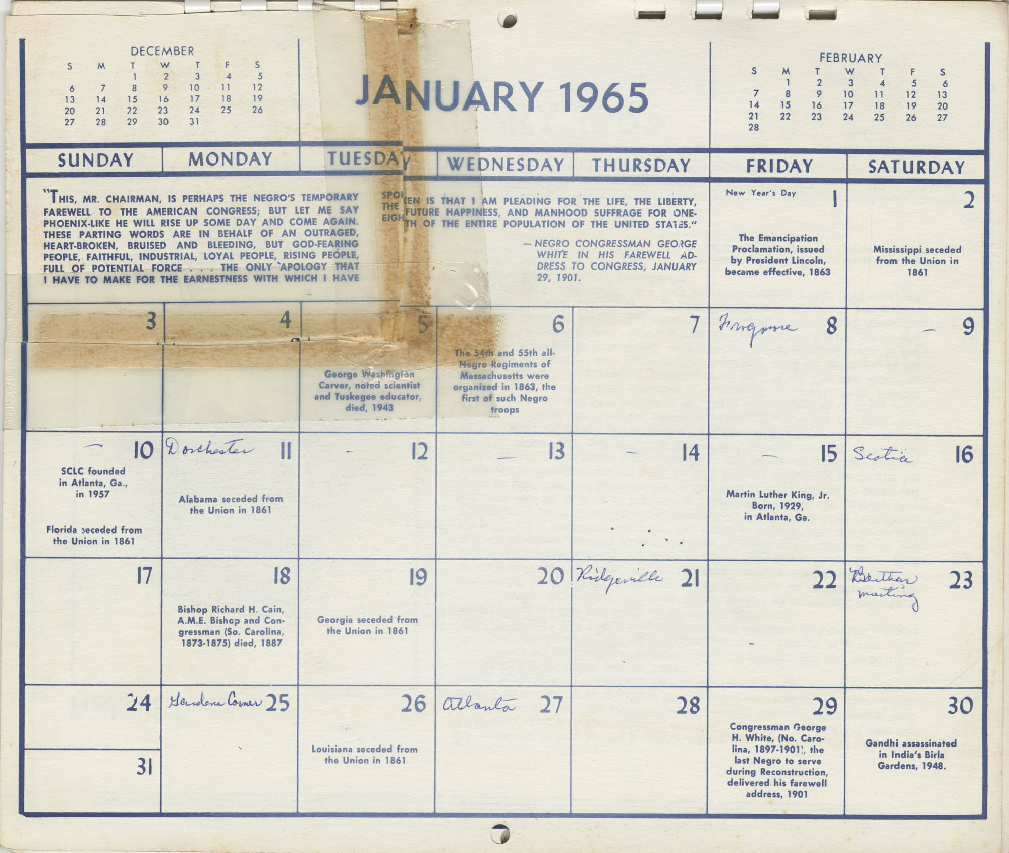 Southern Christian Leadership Conference Newsletter Calendar, January 1965, Bottom