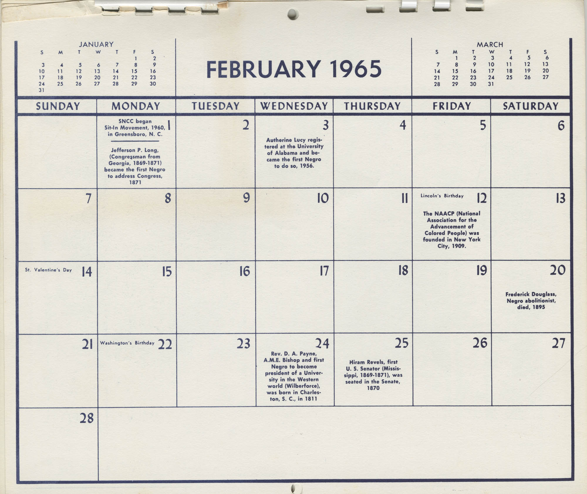 Southern Christian Leadership Conference Newsletter Calendar, February 1965, Bottom