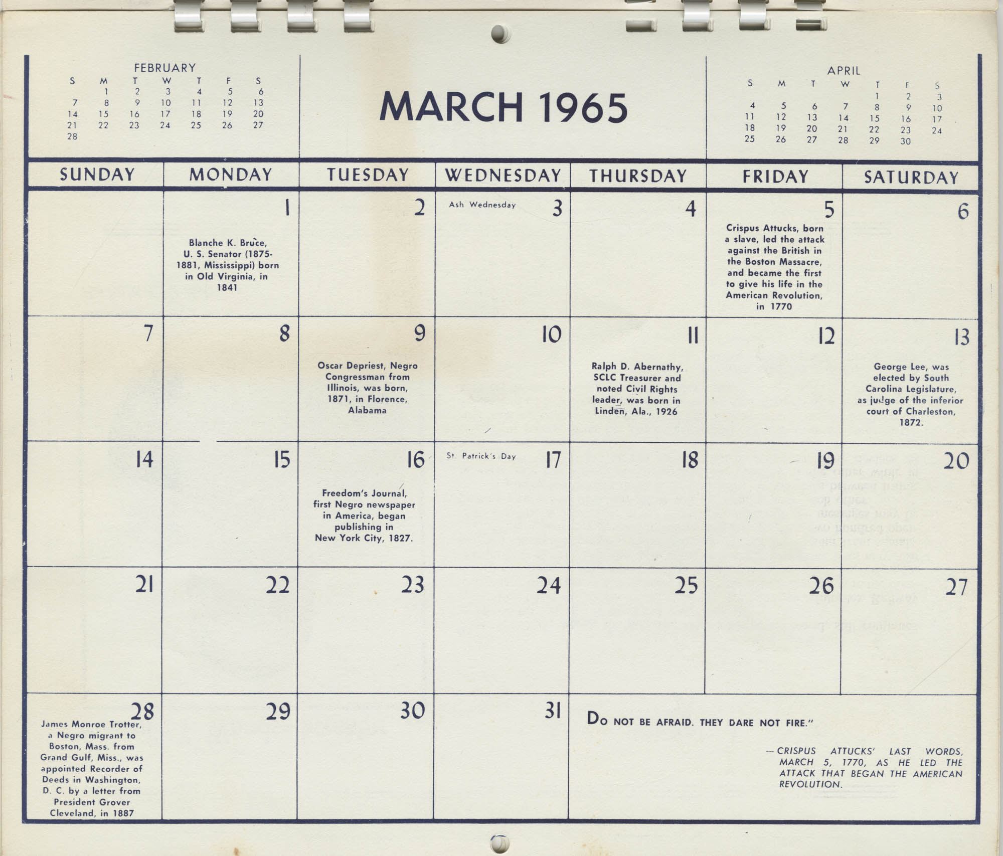 Southern Christian Leadership Conference Newsletter Calendar, March 1965, Bottom