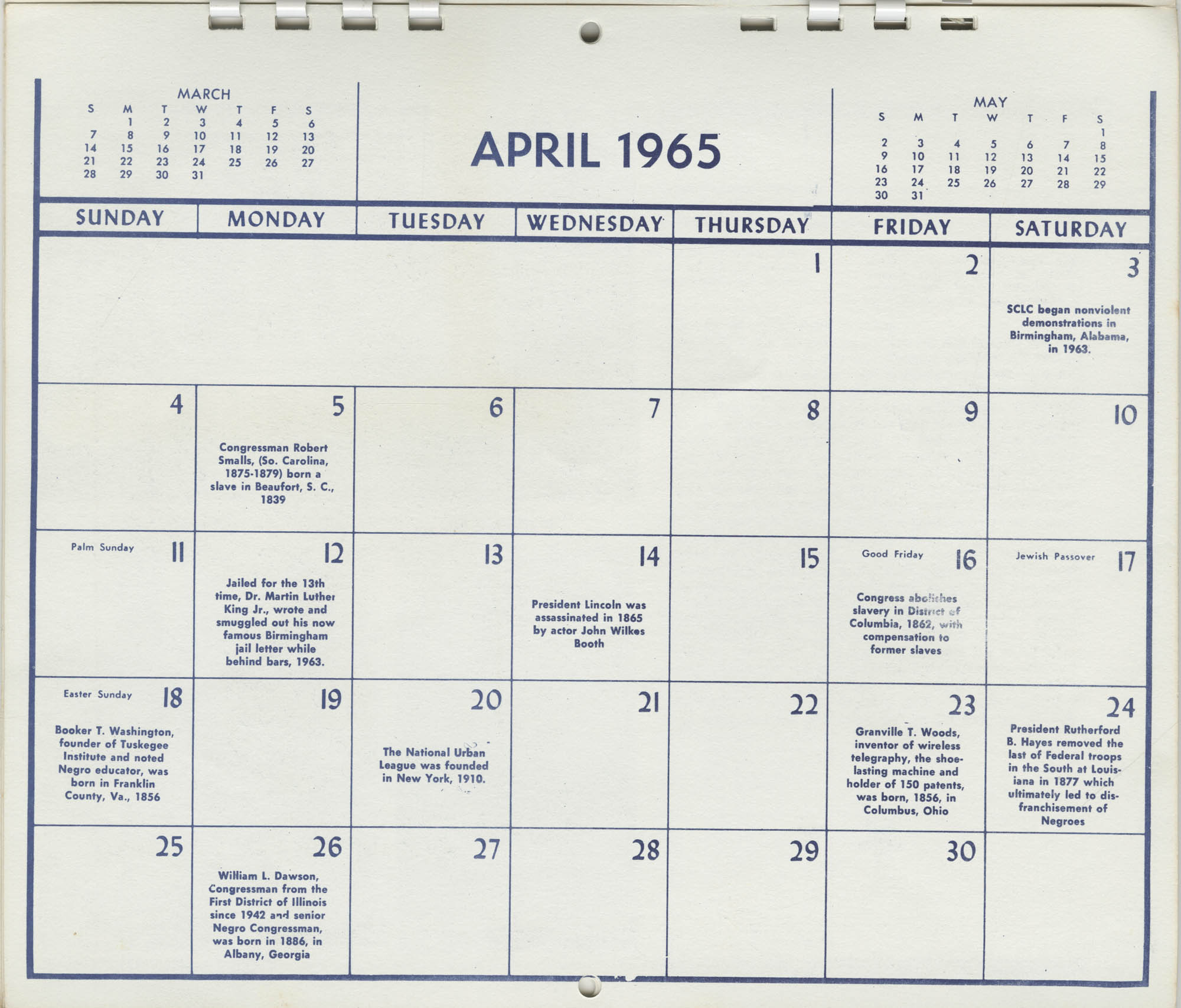 Southern Christian Leadership Conference Newsletter Calendar, April 1965, Bottom