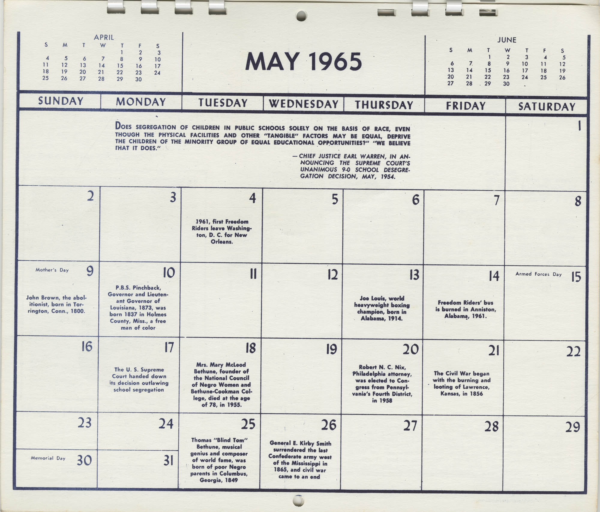 Southern Christian Leadership Conference Newsletter Calendar, May 1965, Bottom