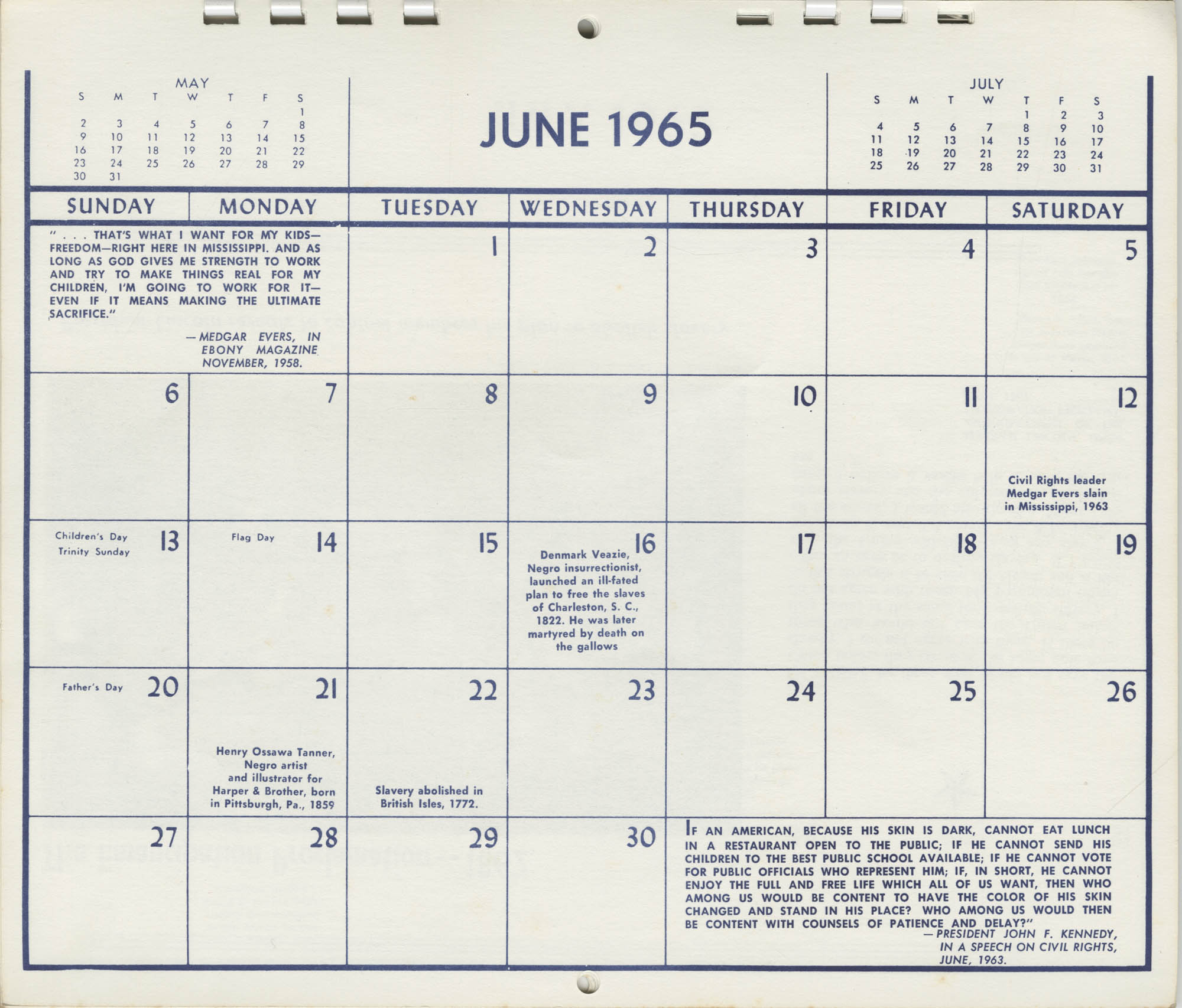 Southern Christian Leadership Conference Newsletter Calendar, June 1965, Bottom