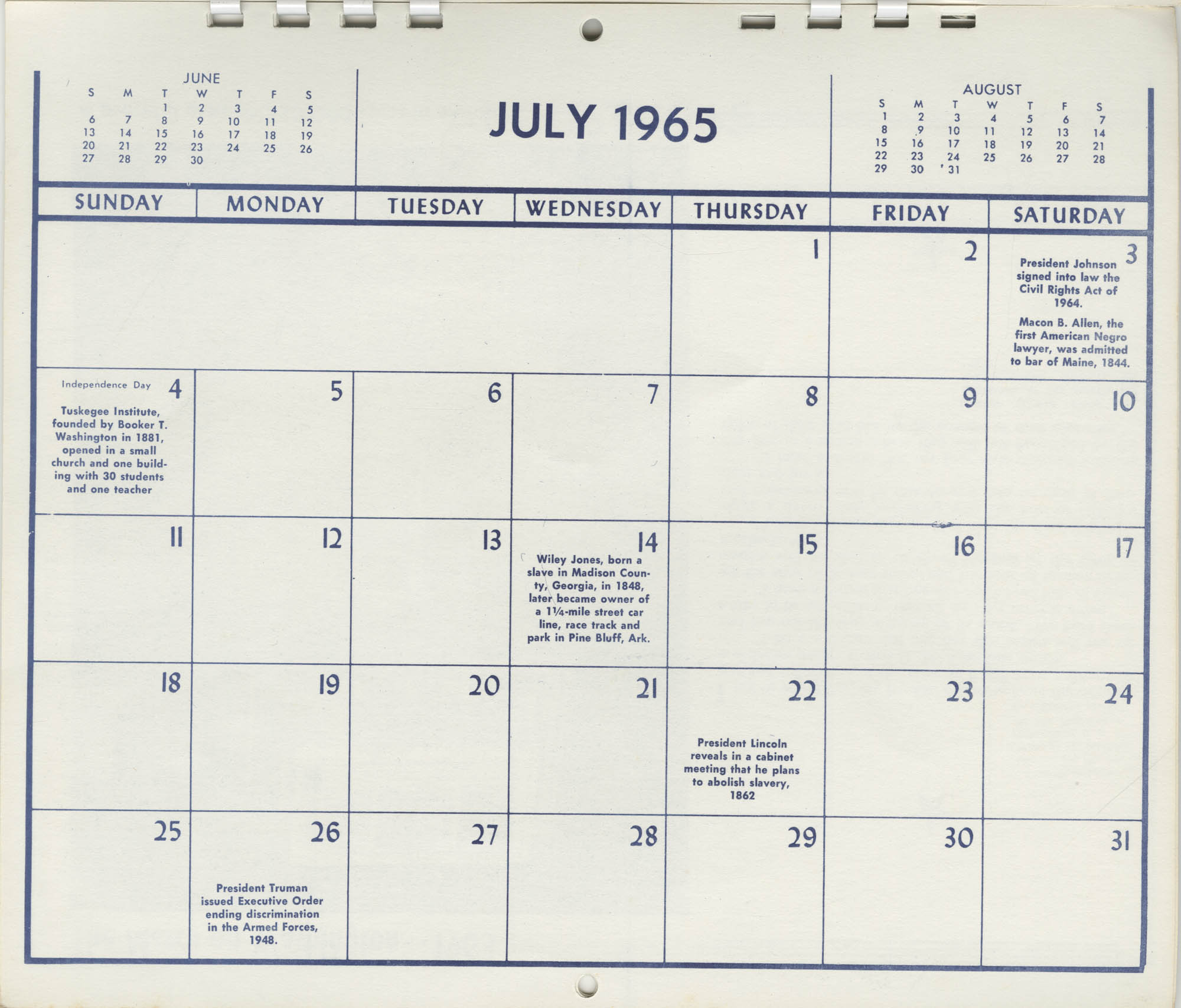 Southern Christian Leadership Conference Newsletter Calendar, July 1965, Bottom