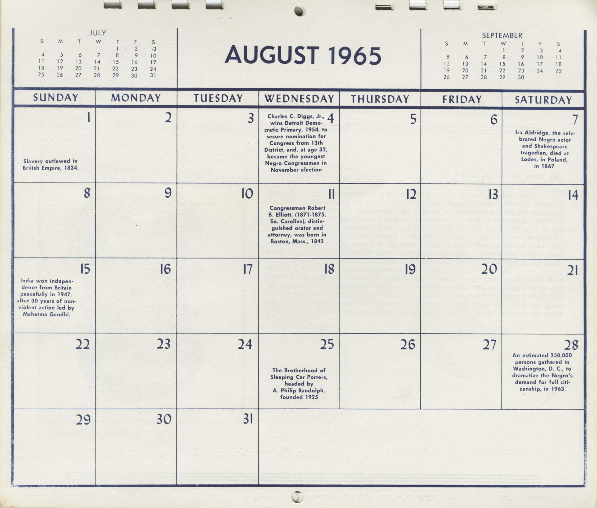 Southern Christian Leadership Conference Newsletter Calendar, August 1965, Bottom